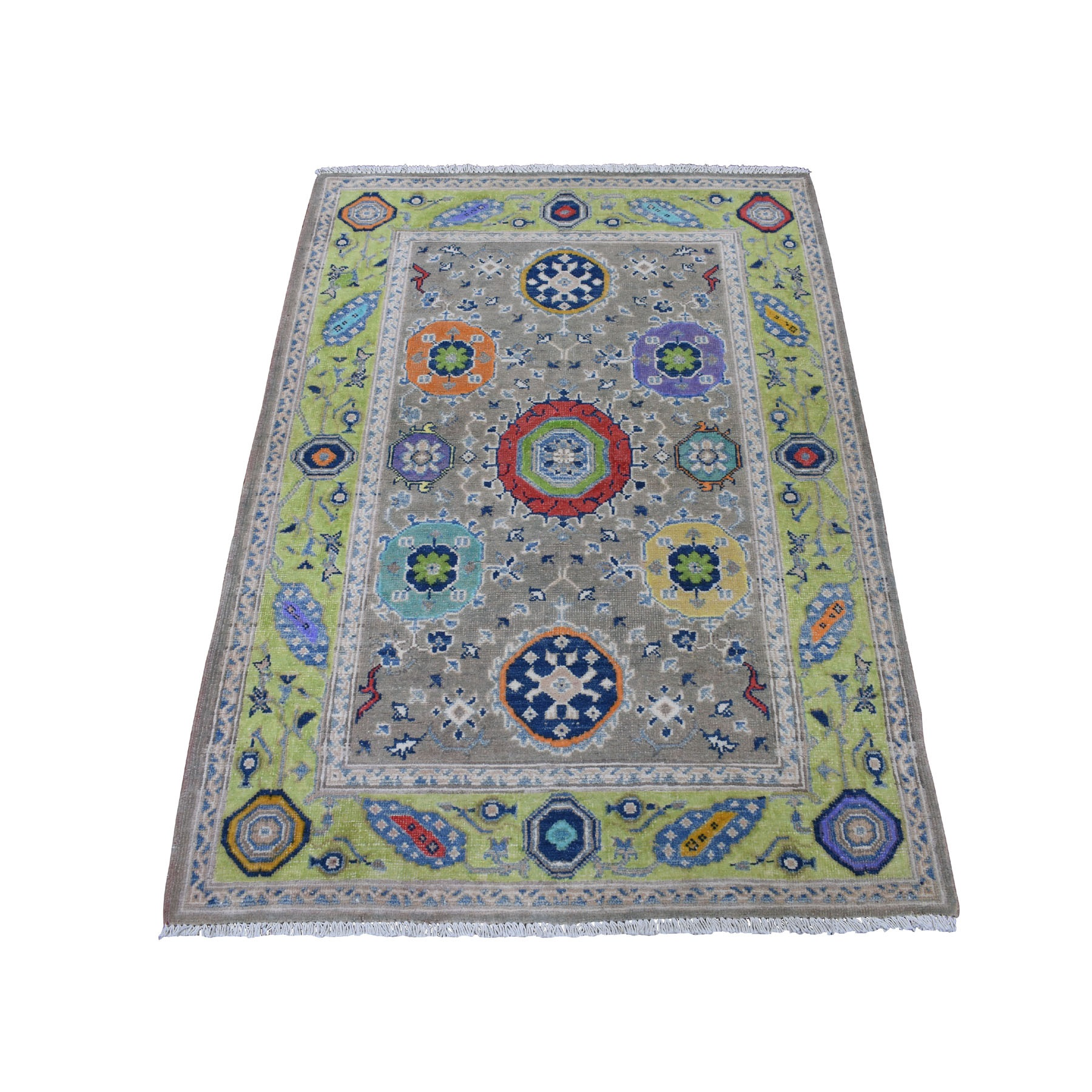 """3'3""""X4'7"""" Colorful Gray Fusion Kazak Pure Wool Geometric Design Hand Knotted Oriental Rug moaec969"""