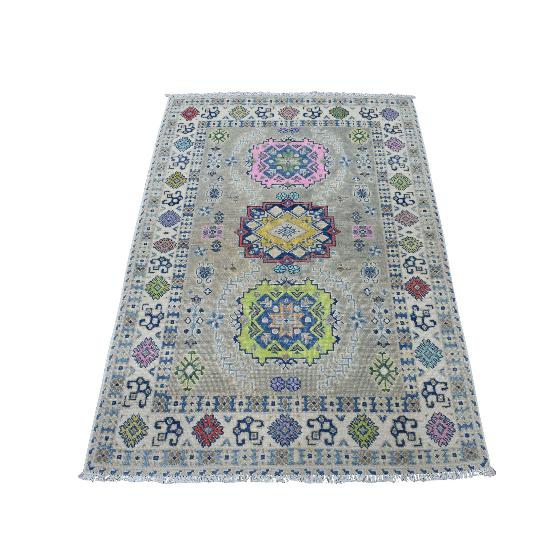 "3'4""X4'8"" Colorful Gray Fusion Kazak Pure Wool Geometric Design Hand Knotted Oriental Rug moaec970"