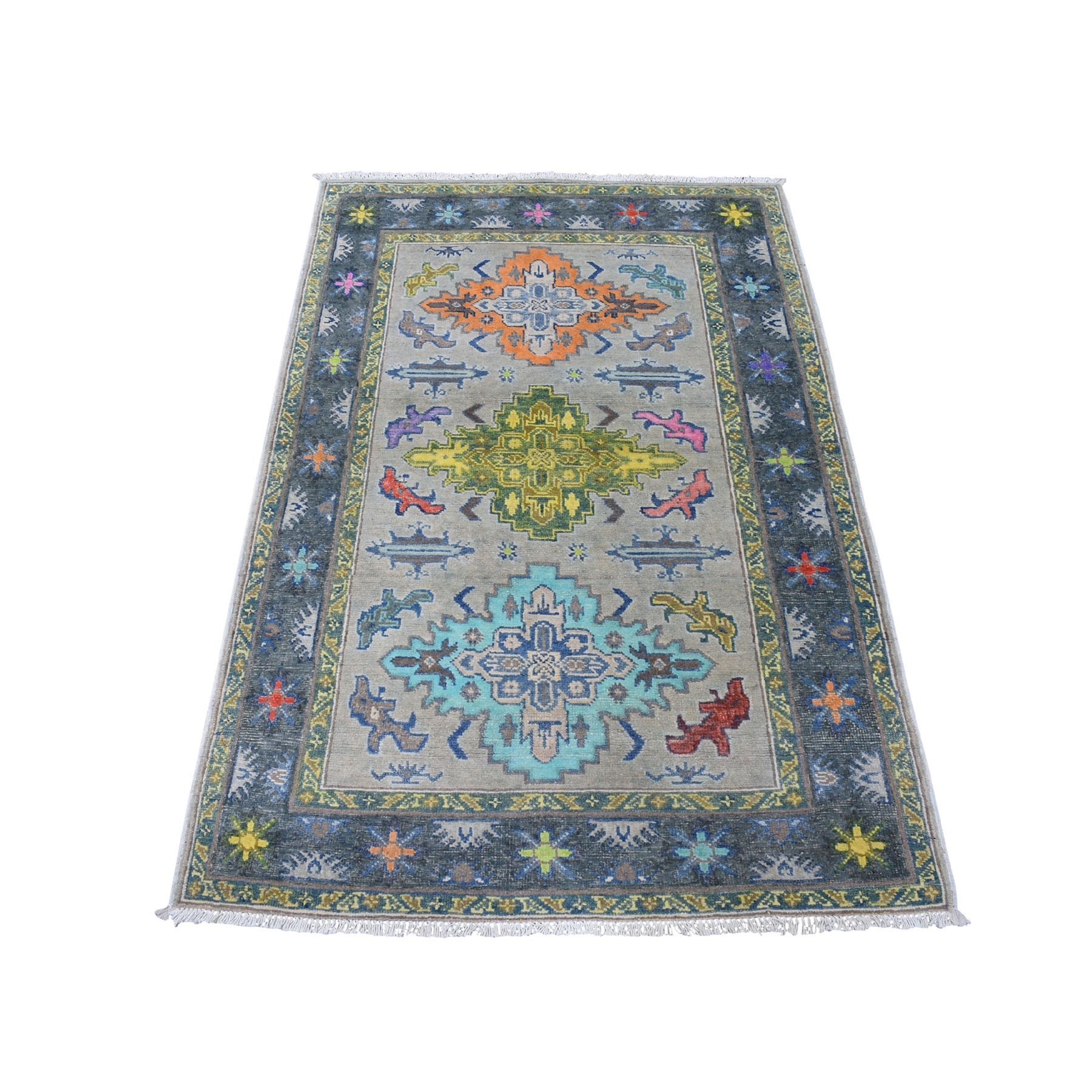 "3'3""X4'10"" Colorful Gray Fusion Kazak Pure Wool Geometric Design Hand Knotted Oriental Rug moaec97a"