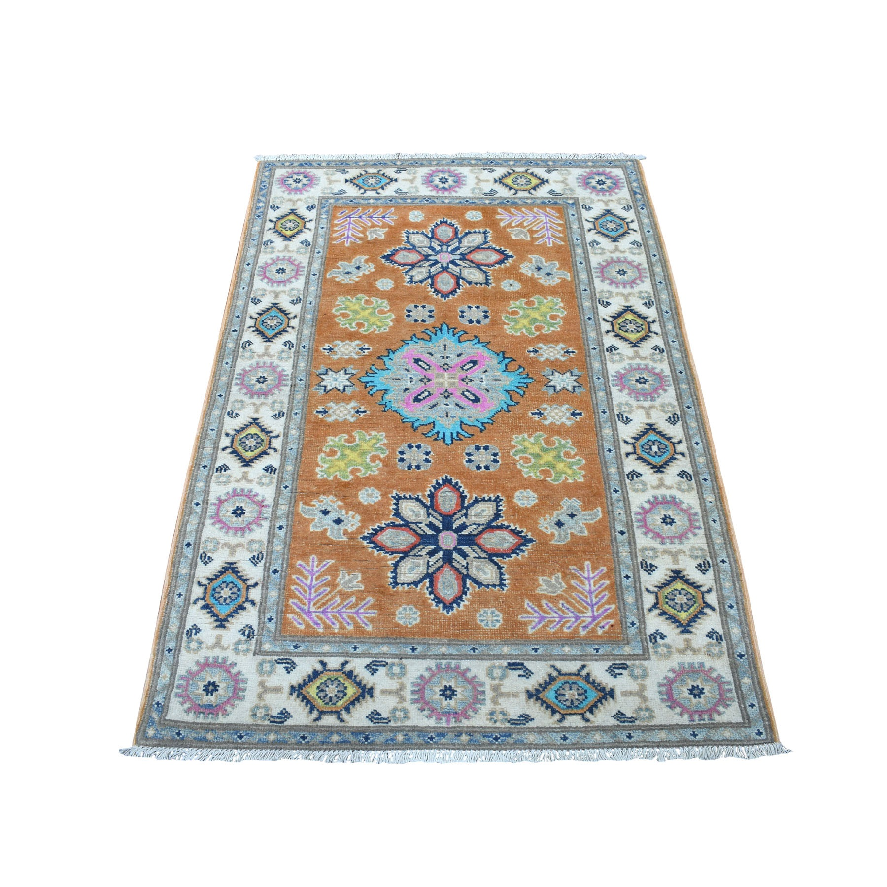 "3'1""X5' Colorful Fusion Kazak Pure Wool Geometric Design Hand Knotted Oriental Rug moaec97b"