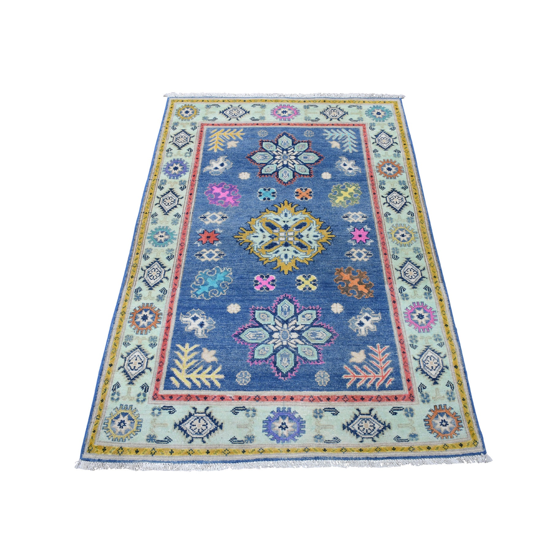 "3'2""X4'9"" Colorful Blue Fusion Kazak Pure Wool Geometric Design Hand Knotted Oriental Rug moaec97e"