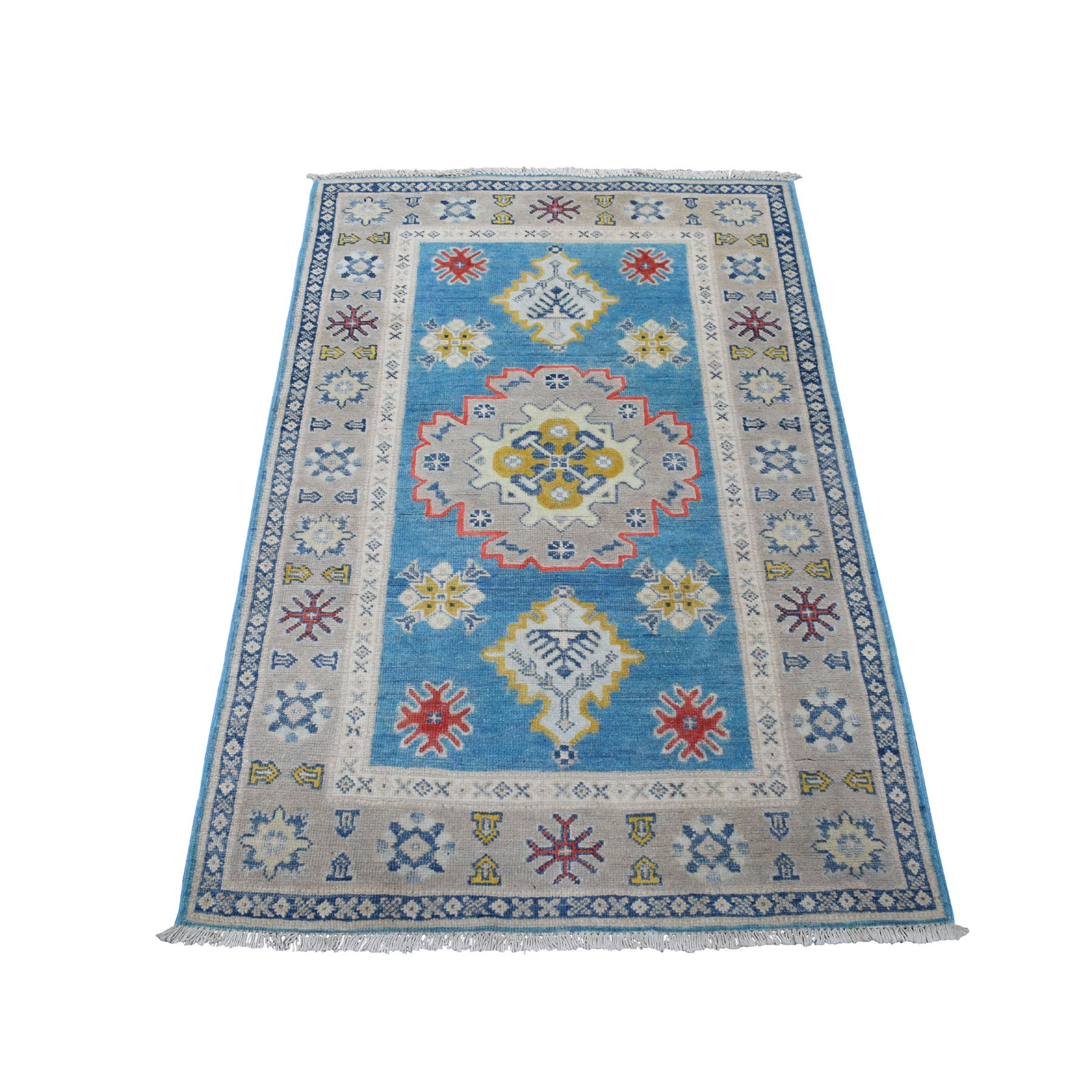 "3'X4'8"" Colorful Blue Fusion Kazak Pure Wool Geometric Design Hand Knotted Oriental Rug moaec976"