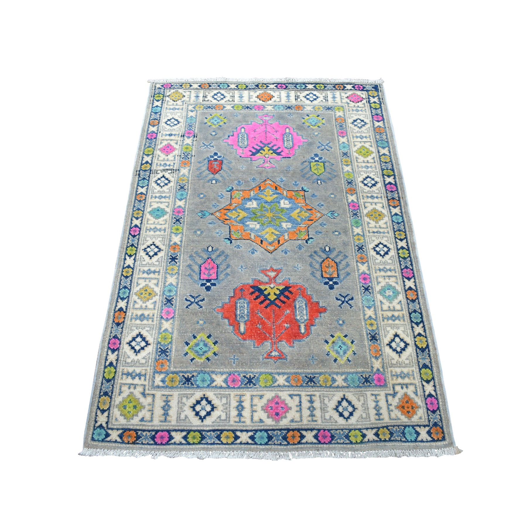 "3'1""x4'7"" Colorful Gray Fusion Kazak Pure Wool Geometric Design Hand Knotted Oriental Rug 53977"