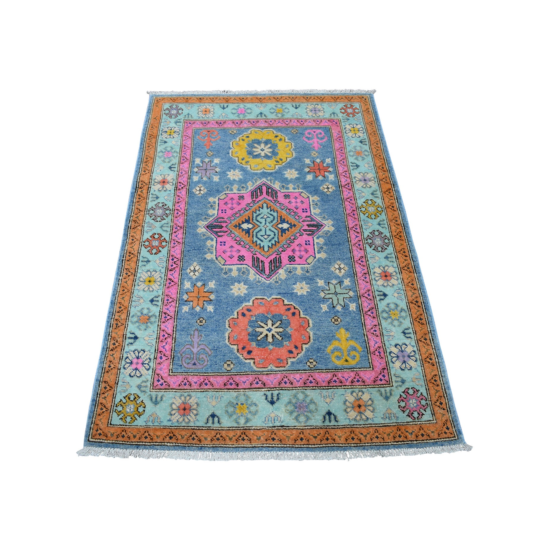 "3'2""X4'10"" Colorful Blue Fusion Kazak Pure Wool Geometric Design Hand Knotted Oriental Rug moaec978"