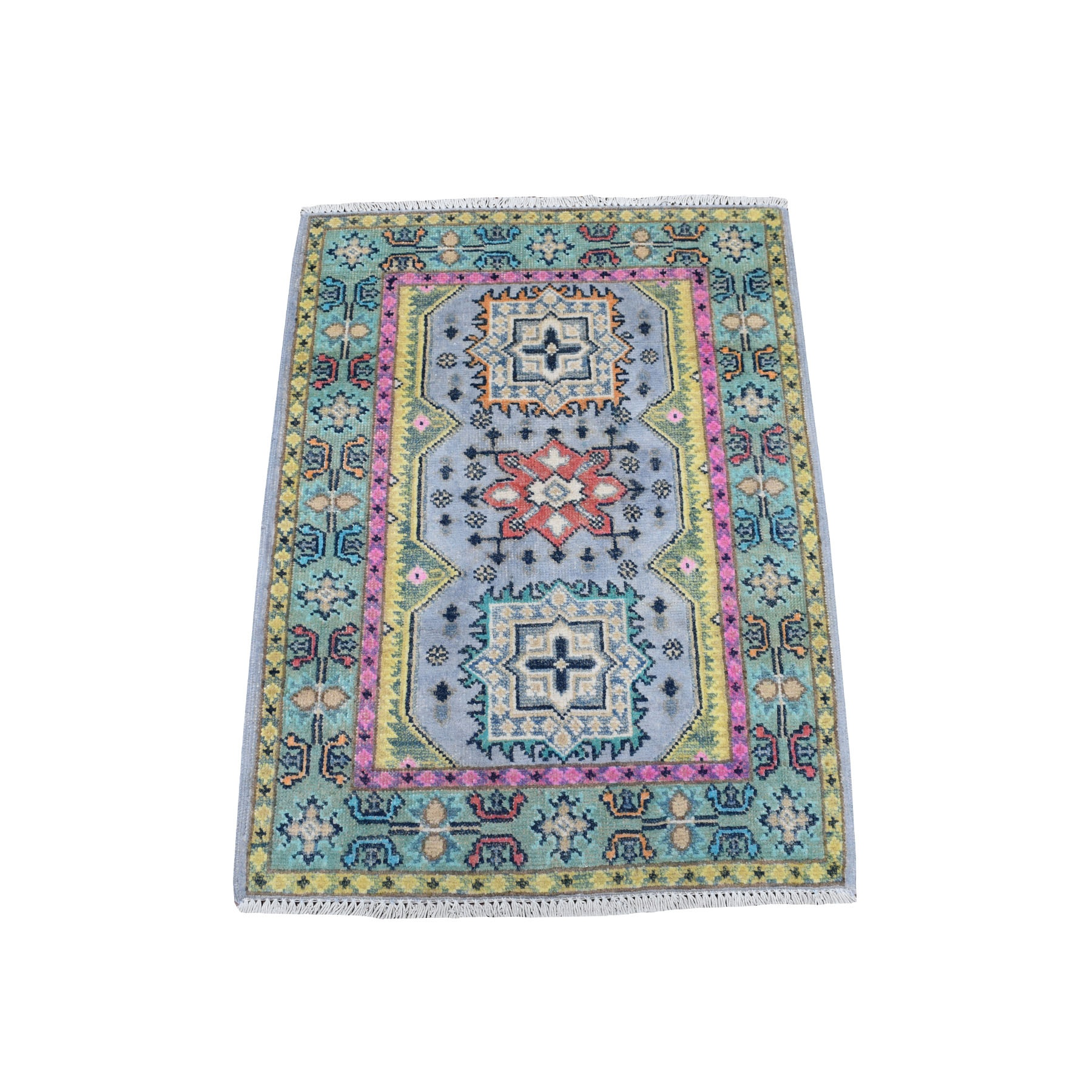 """2'6""""X3' Colorful Gray Fusion Kazak Pure Wool Geometric Design Hand Knotted Oriental Rug moaec979"""