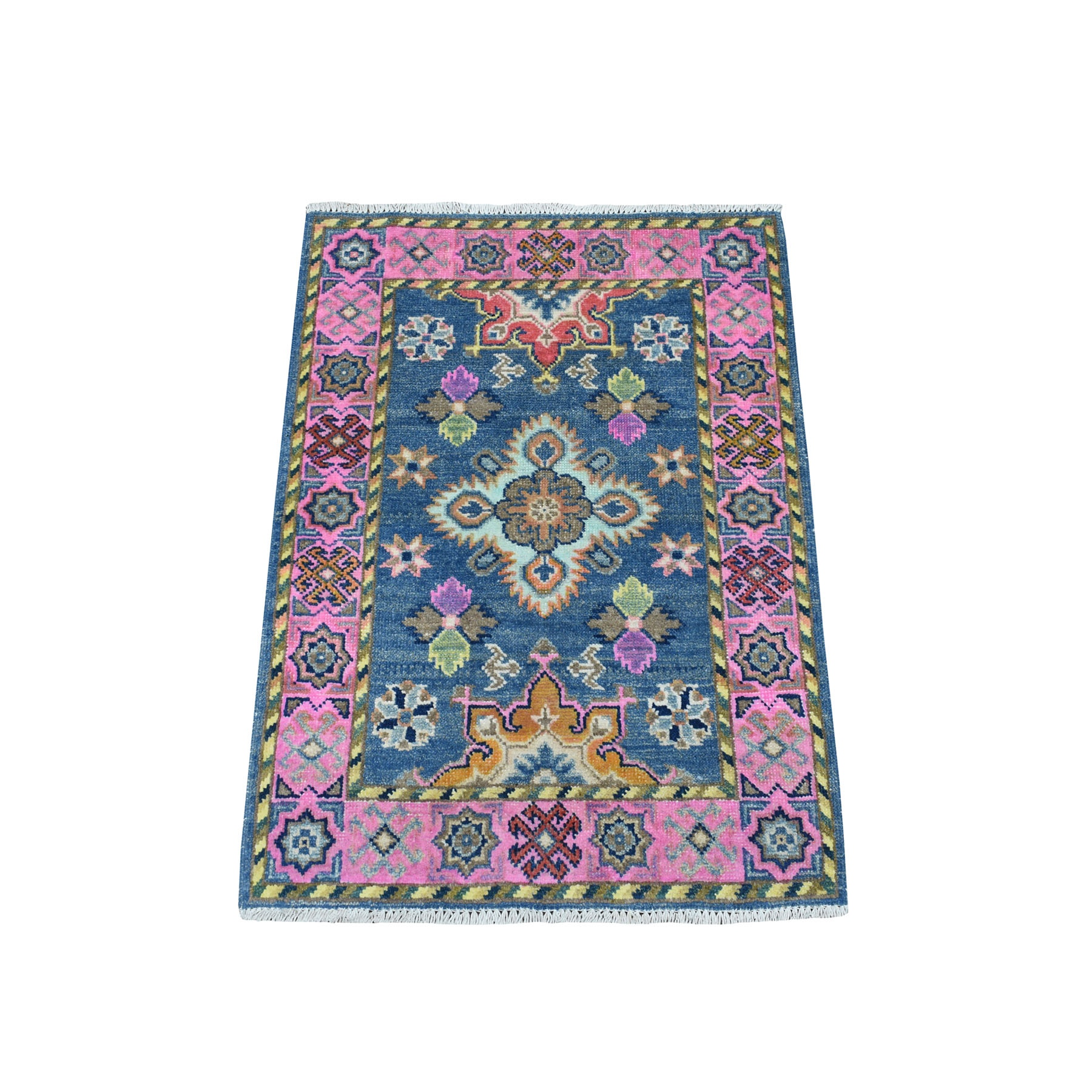 "2'1""X2'10"" Colorful Blue Fusion Kazak Pure Wool Geometric Design Hand Knotted Oriental Rug moaec980"