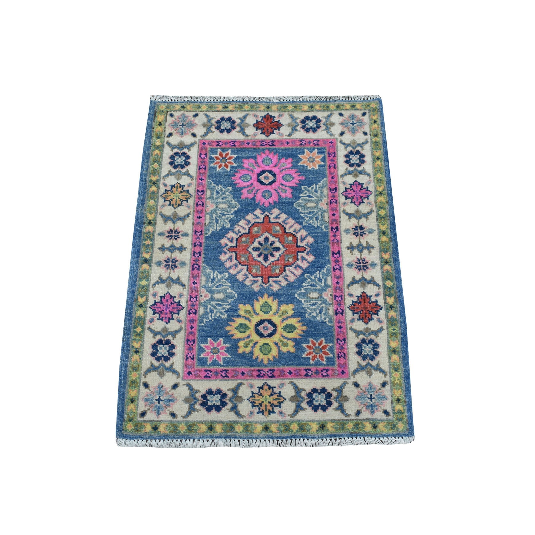 """2'2""""X2'10"""" Colorful Blue Fusion Kazak Pure Wool Geometric Design Hand Knotted Oriental Rug moaec98a"""
