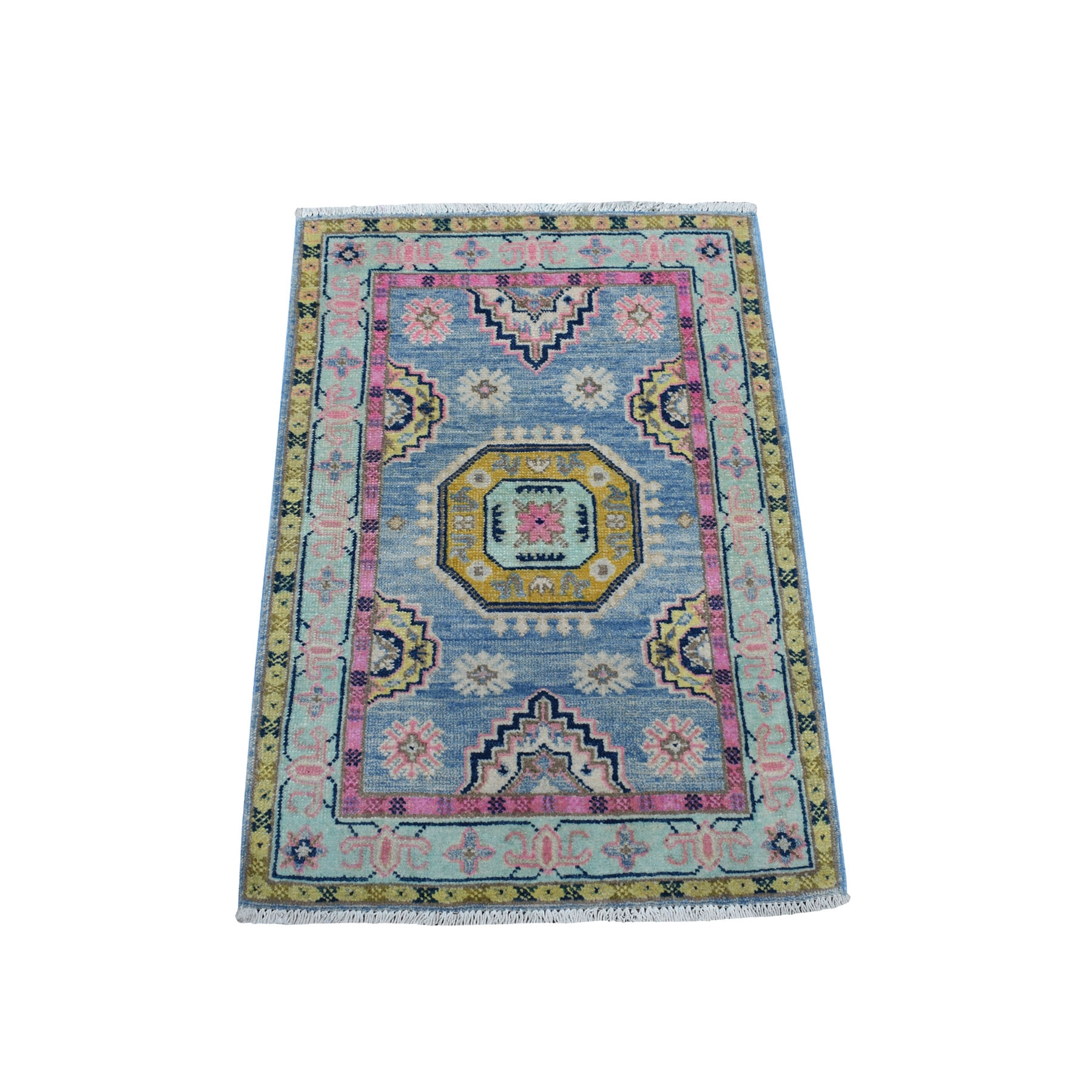 """2'1""""x3' Colorful Blue Fusion Kazak Pure Wool Geometric Design Hand Knotted Oriental Rug 53982"""