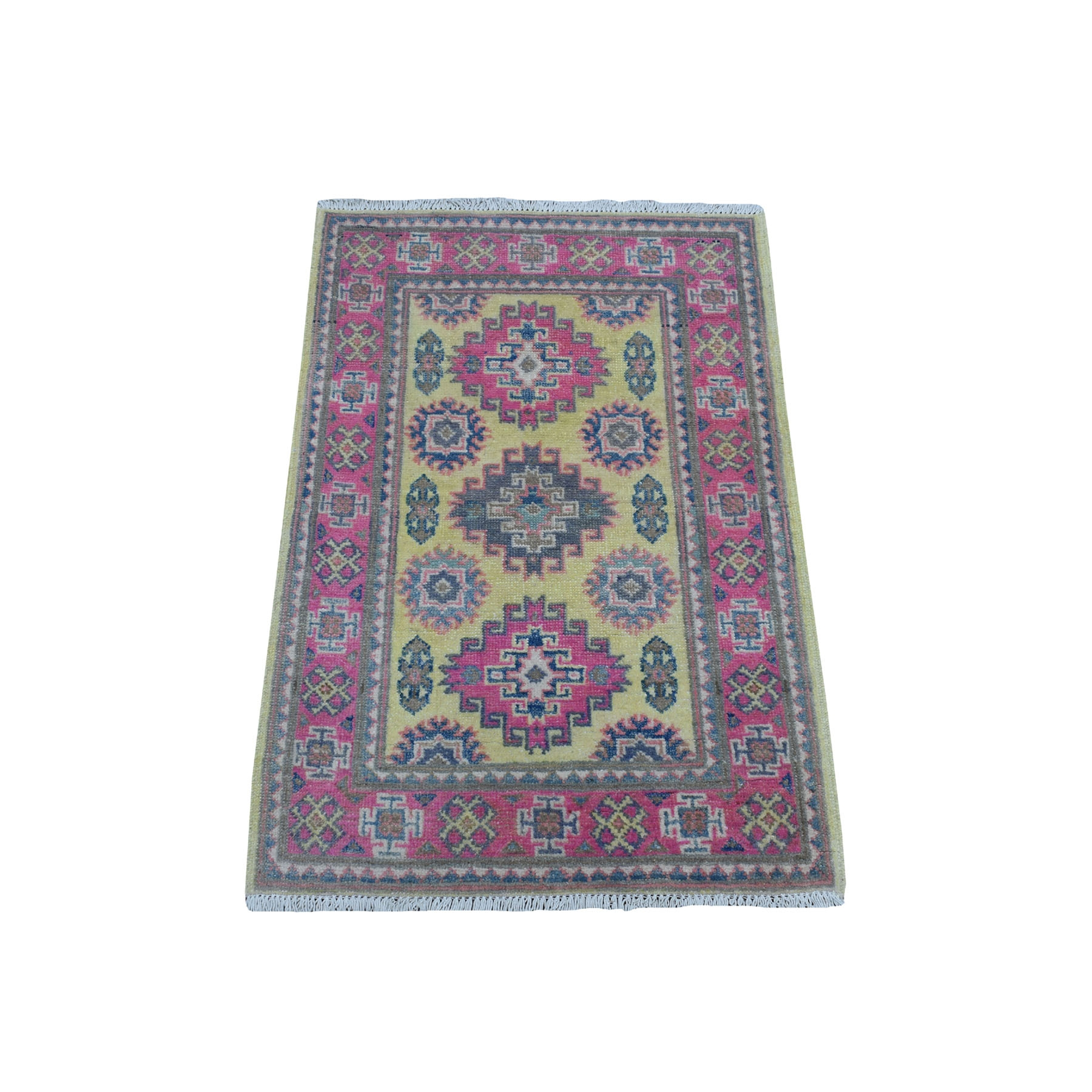 "2'X2'10"" Colorful Yellow Fusion Kazak Pure Wool Geometric Design Hand Knotted Oriental Rug moaec98c"