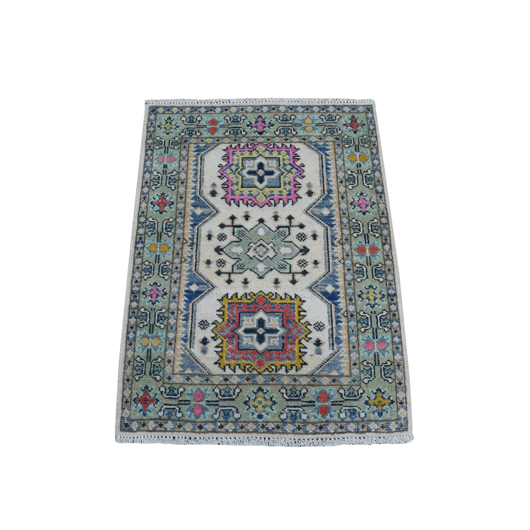 "2'2""X3' Colorful Gray Fusion Kazak Pure Wool Geometric Design Hand Knotted Oriental Rug moaec98d"