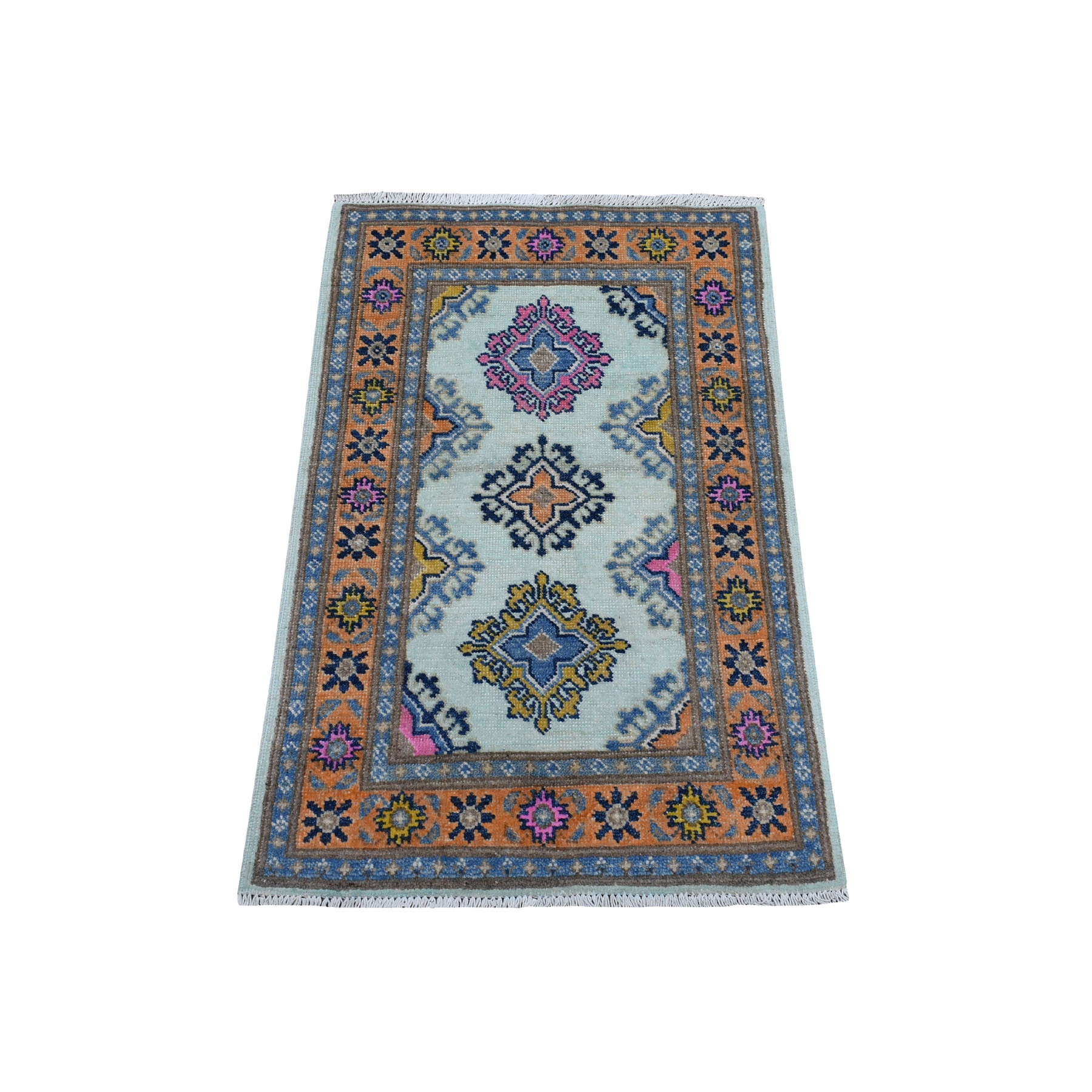 2-x3-1  Colorful Ivory Fusion Kazak Pure Wool Geometric Design Hand Knotted Oriental Rug