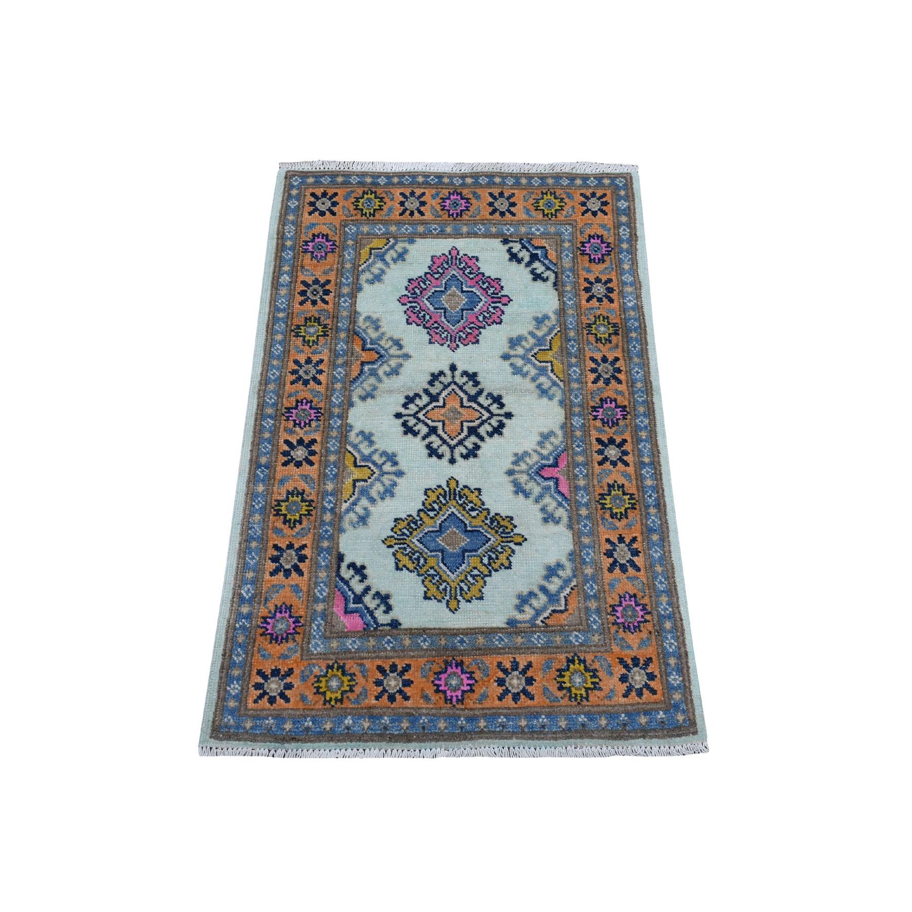 "2'X3'1"" Colorful Ivory Fusion Kazak Pure Wool Geometric Design Hand Knotted Oriental Rug moaec98e"