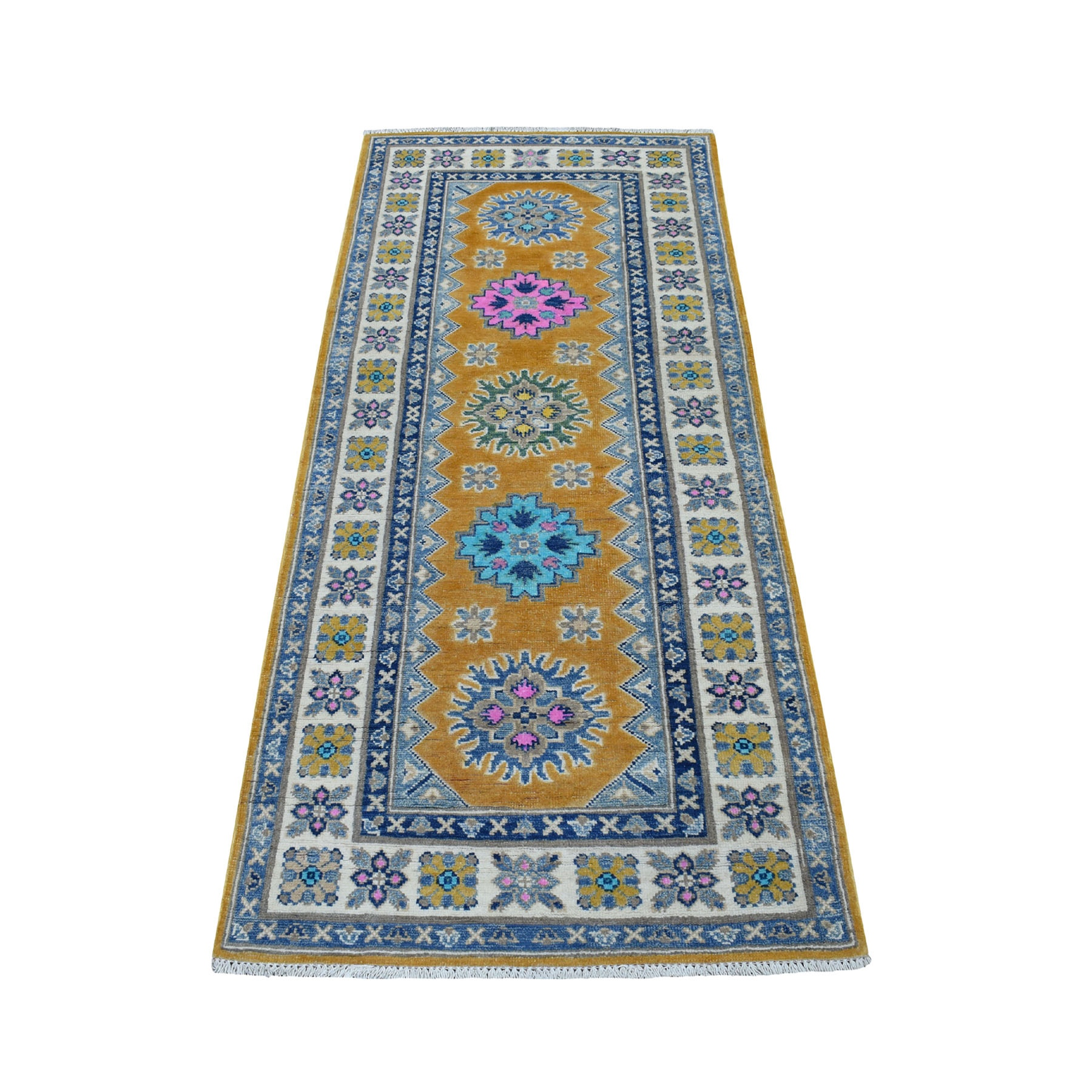 "2'9""X6'2""  Colorful Yellow Fusion Kazak Pure Wool Runner Geometric Design Hand Knotted Oriental Rug moaec99a"