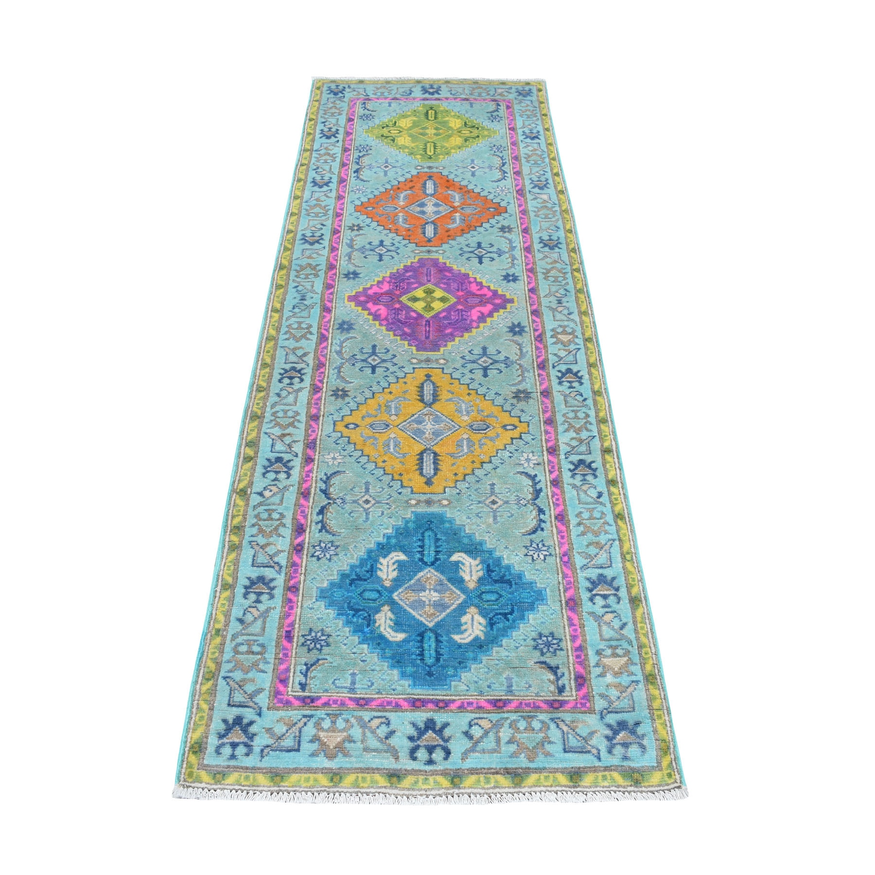 "2'8""X8' Colorful Blue Fusion Kazak Pure Wool Runner Geometric Design Hand Knotted Oriental Rug moaec99d"