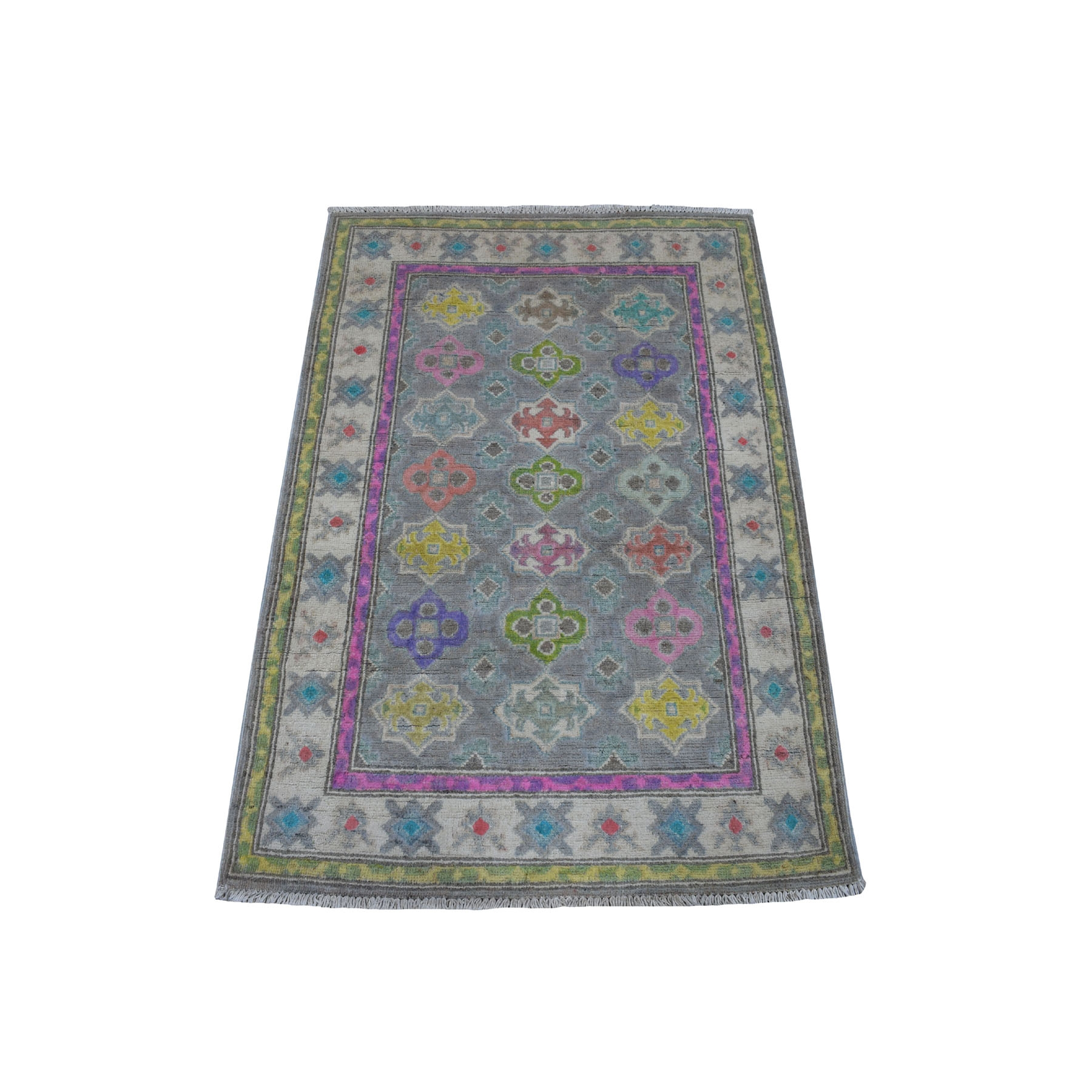 "2'9""X4' Colorful Gray Fusion Kazak Pure Wool Geometric Design Hand Knotted Oriental Rug moaec99e"