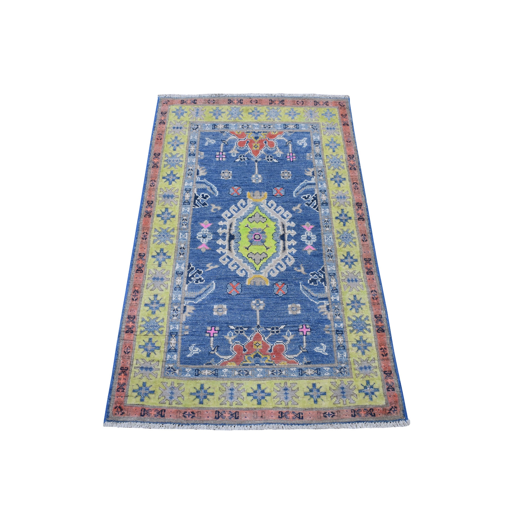 "2'6""X4' Colorful Blue Fusion Kazak Pure Wool Geometric Design Hand Knotted Oriental Rug moaec996"