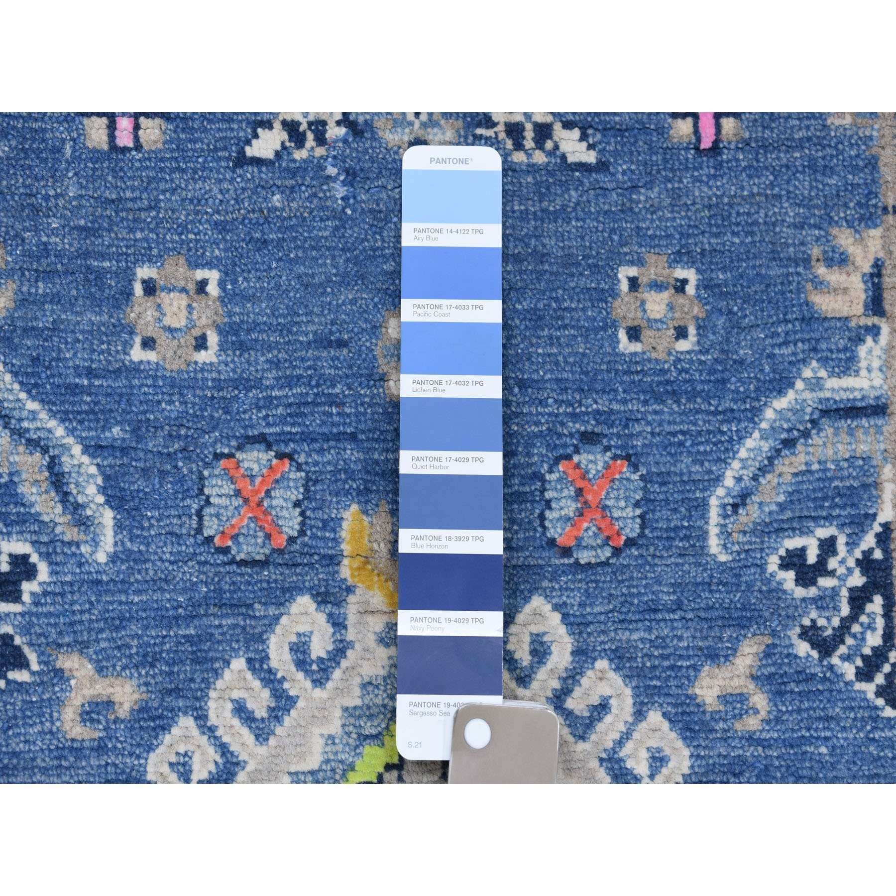 2-6 x4- Colorful Blue Fusion Kazak Pure Wool Geometric Design Hand Knotted Oriental Rug