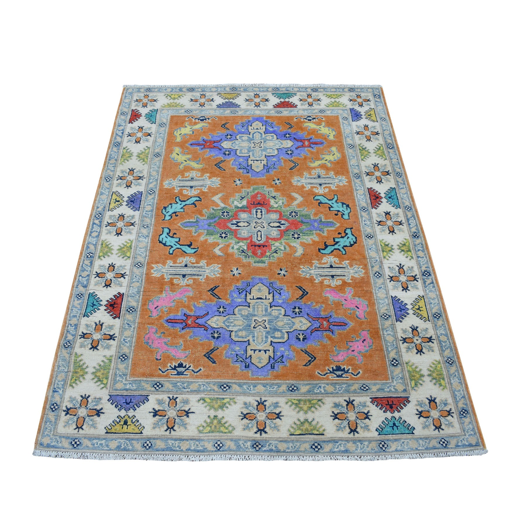 "4'X5'4"" Colorful Orangefusion Kazak Pure Wool Geometric Design Hand Knotted Oriental Rug moaec997"