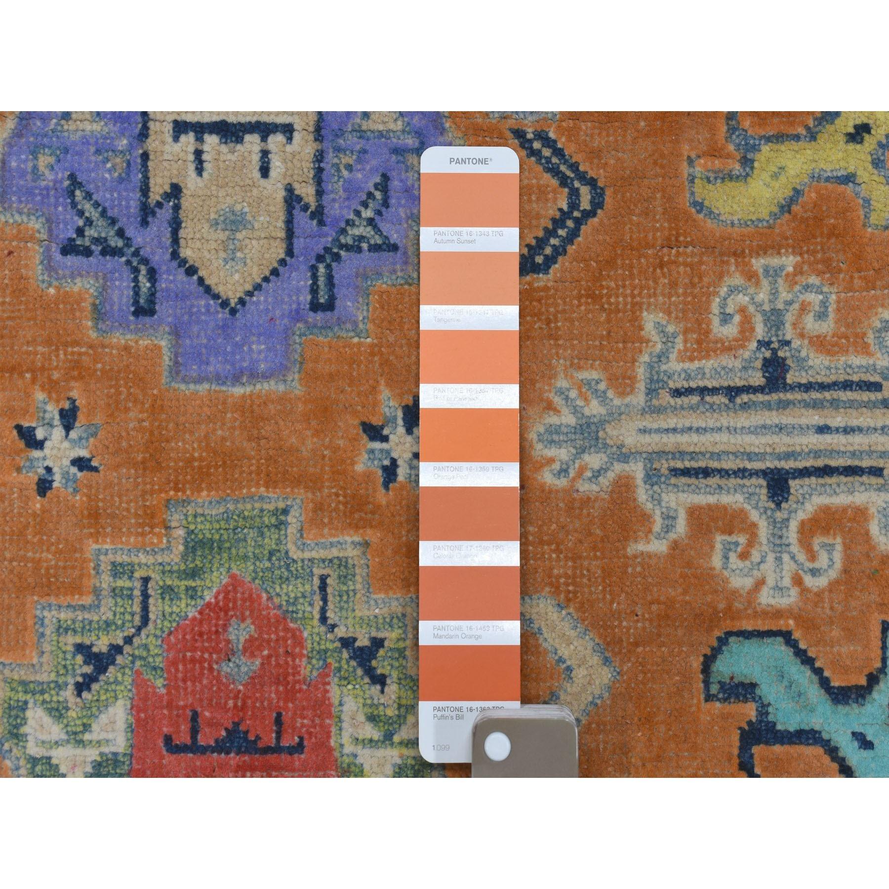4-x5-4  Colorful OrangeFusion Kazak Pure Wool Geometric Design Hand Knotted Oriental Rug