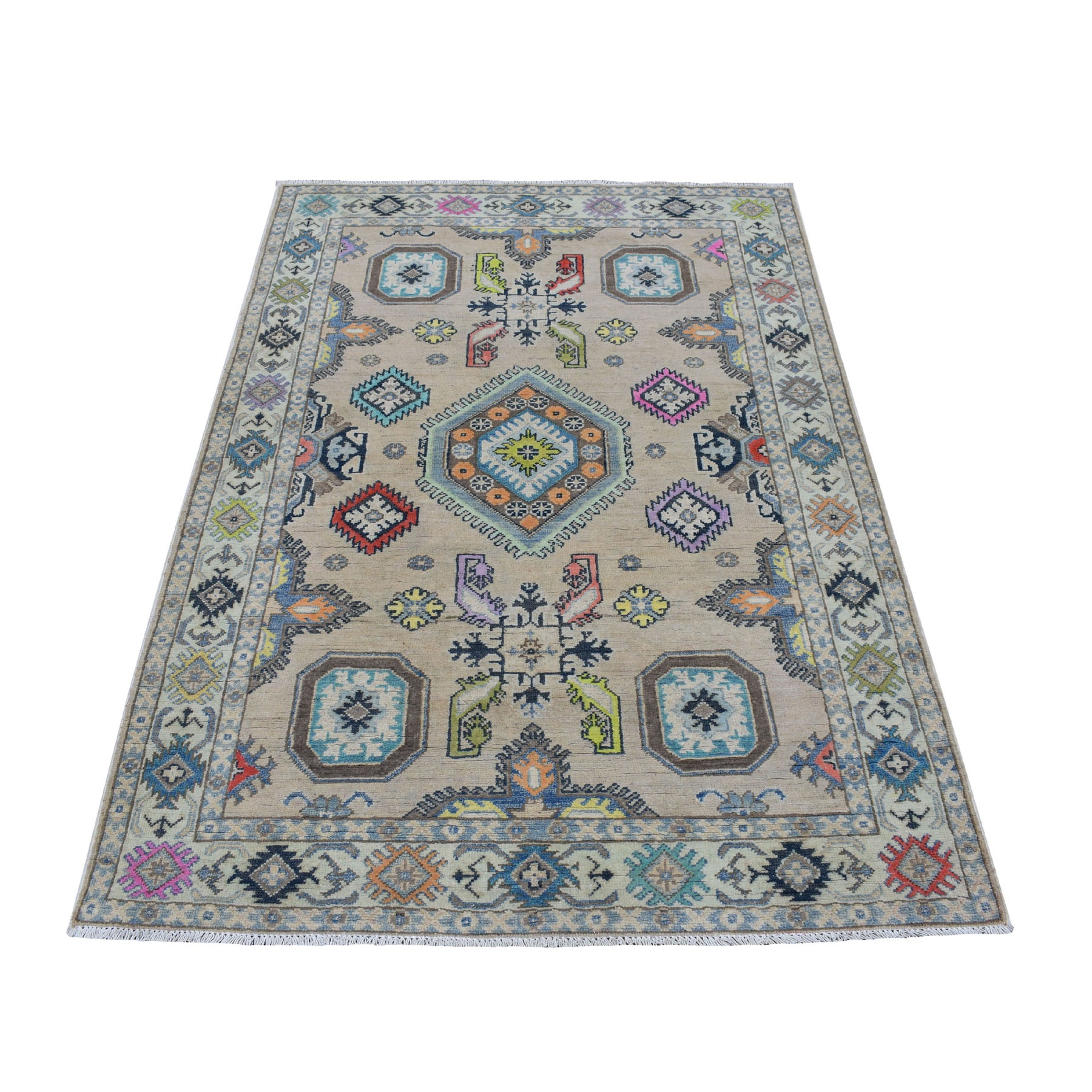"3'10""X6' Colorful Gray Fusion Kazak Pure Wool Geometric Design Hand Knotted Oriental Rug moaec998"