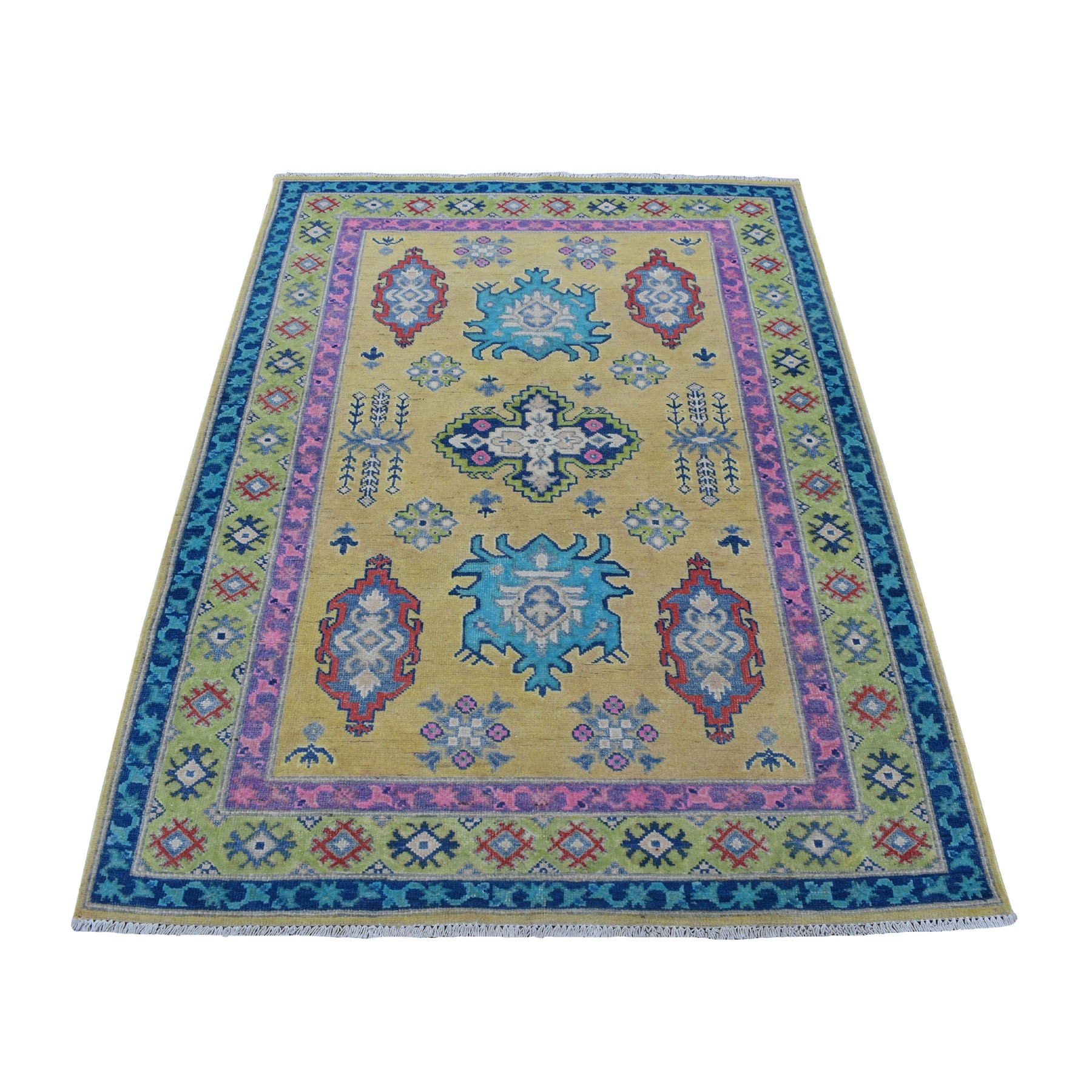 "4'X5'8"" Colorful Fusion Kazak Pure Wool Geometric Design Hand Knotted Oriental Rug moaec999"