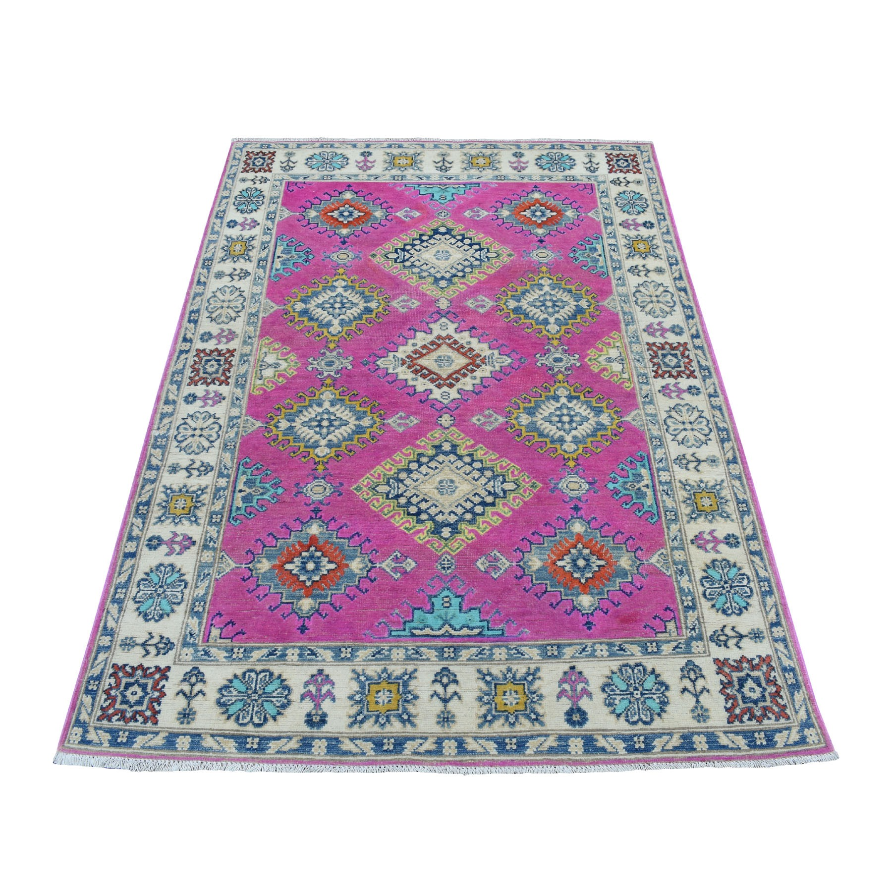 4'X6' Colorful Pink Fusion Kazak Pure Wool Geometric Design Hand Knotted Oriental Rug moaed00a