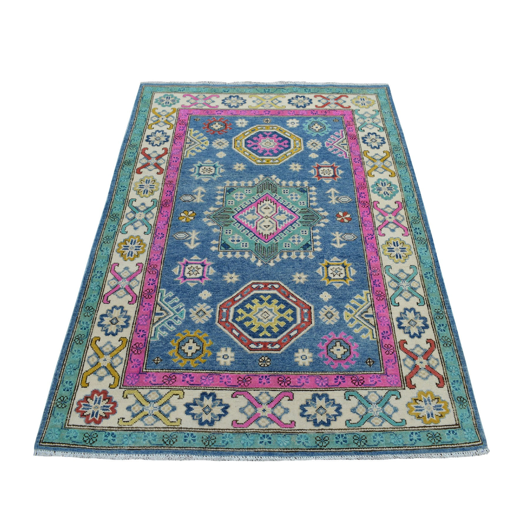 "4'X5'9"" Colorful Blue Fusion Kazak Pure Wool Geometric Design Hand Knotted Oriental Rug moaed00b"