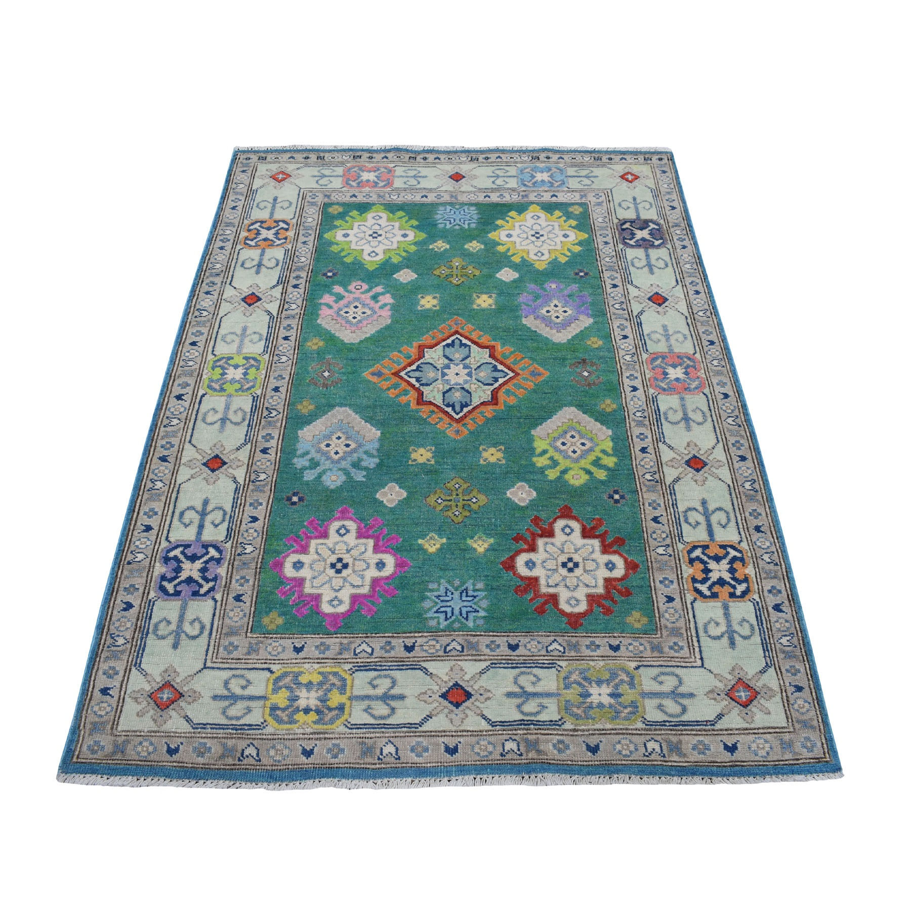 4'X6'  Colorful Green Fusion Kazak Pure Wool Geometric Design Hand Knotted Oriental Rug moaed00c