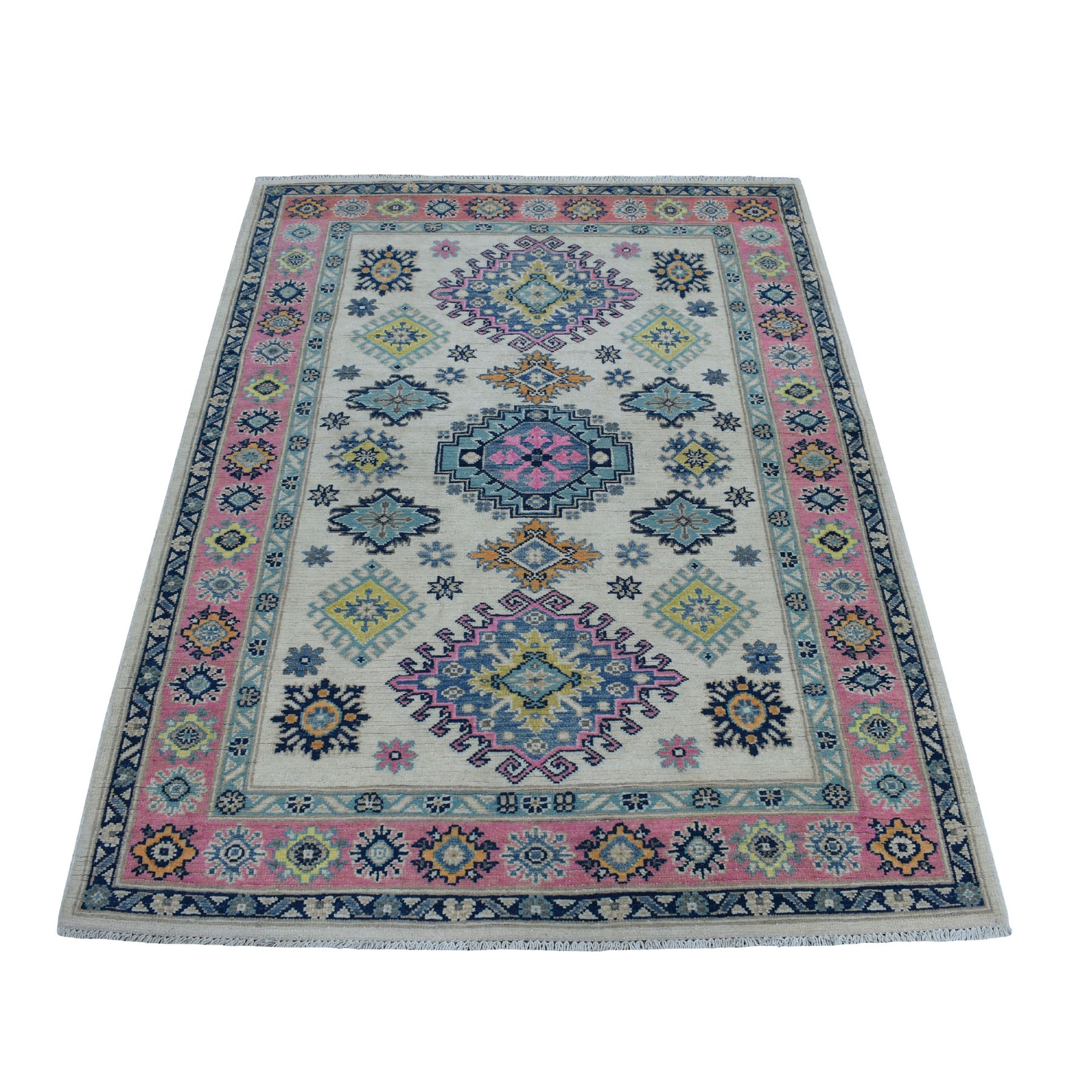 "4'X5'6"" Colorful Ivory Fusion Kazak Pure Wool Geometric Design Hand Knotted Oriental Rug moaed00d"