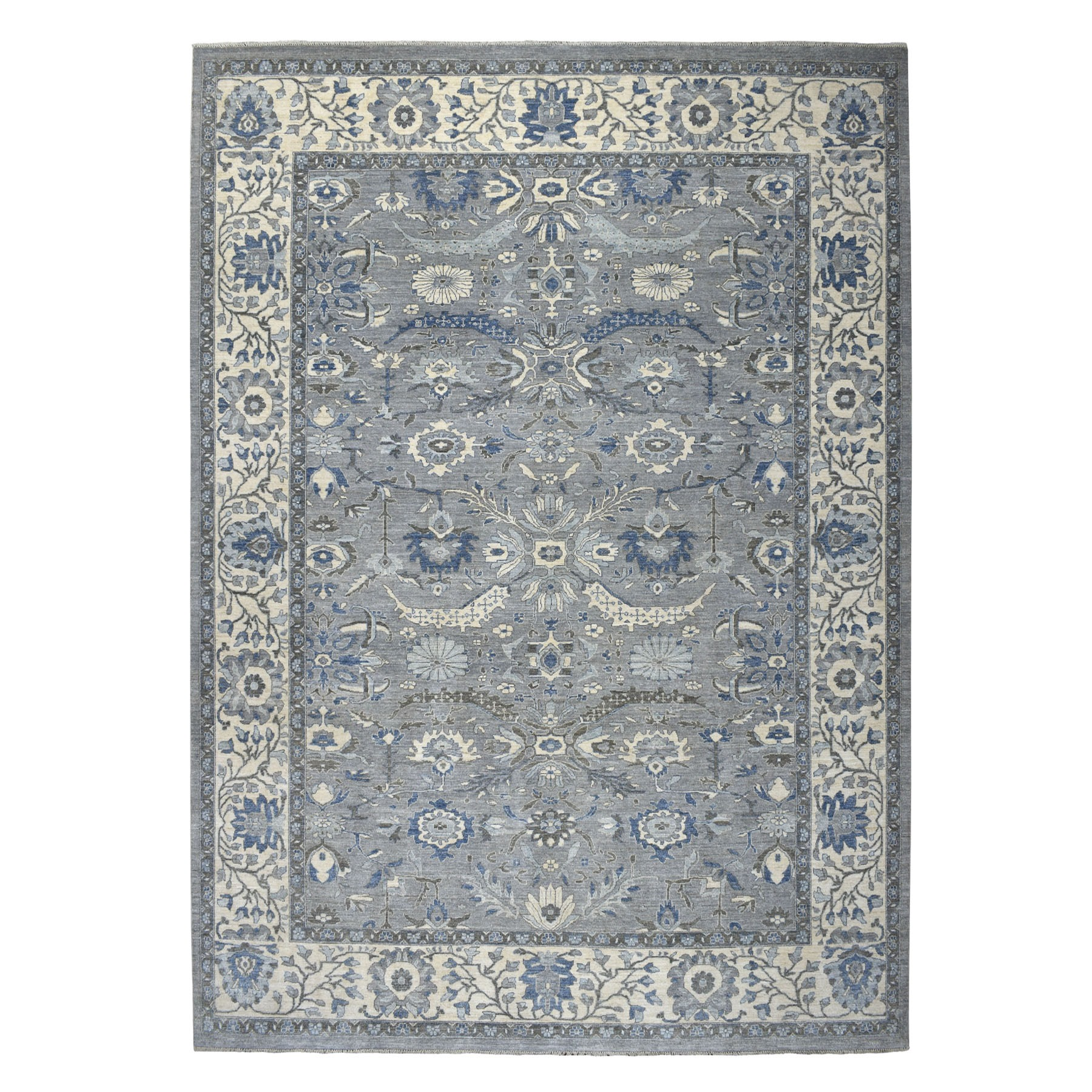 "9'10""x13'6"" Gray Peshawar With Ziegler Mahal Silver Wash Hand Knotted Oriental Rug"