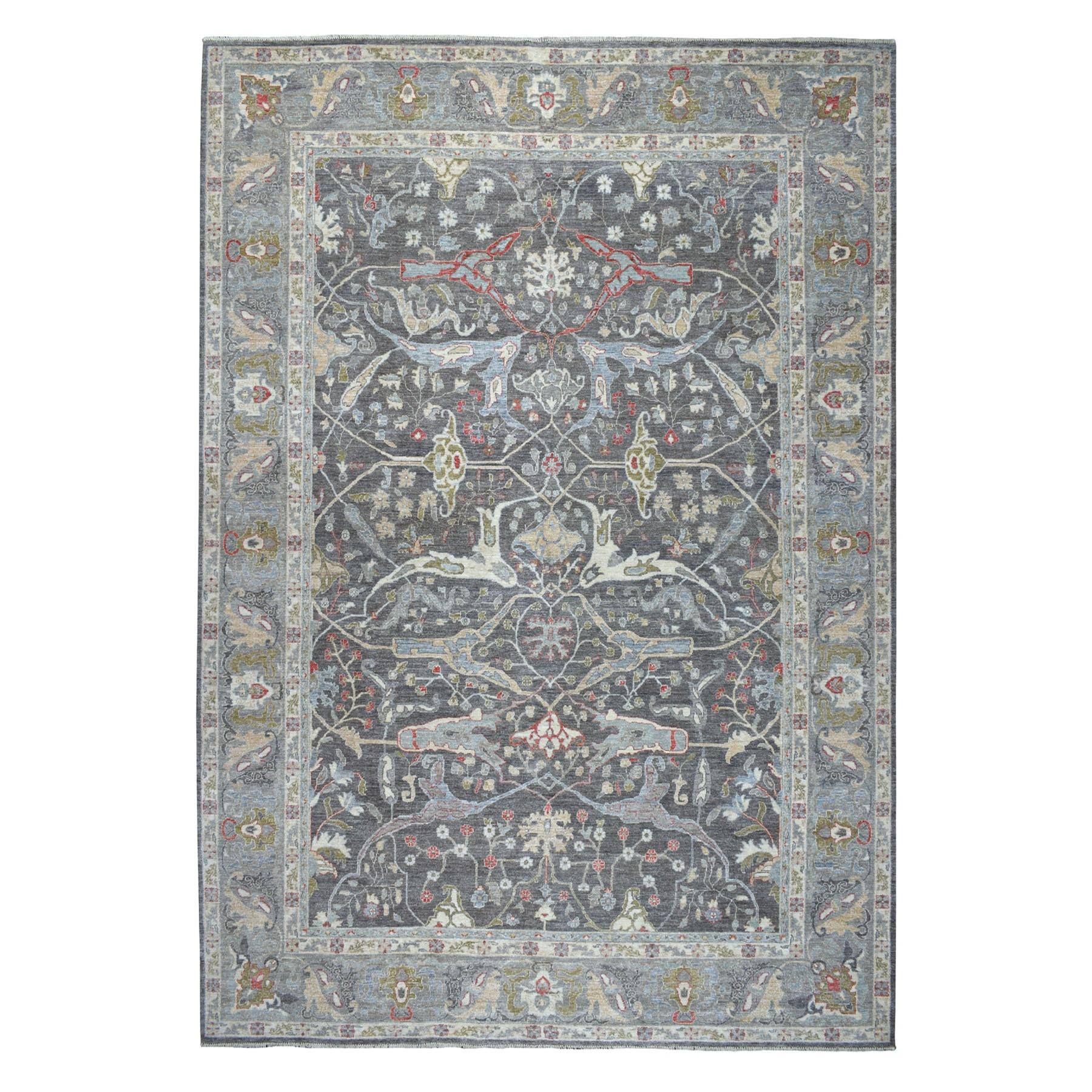 """10'x13'9"""" Gray Peshawar With Bijar Garrus Design Silver Wash hand Knotted Oriental Rug"""