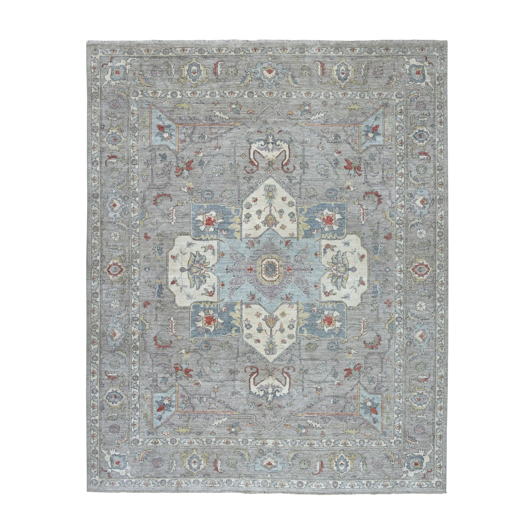 "8'x9'7"" Gray Peshawar With Heriz Design Pop OF Color Hand Knotted Oriental Rug"