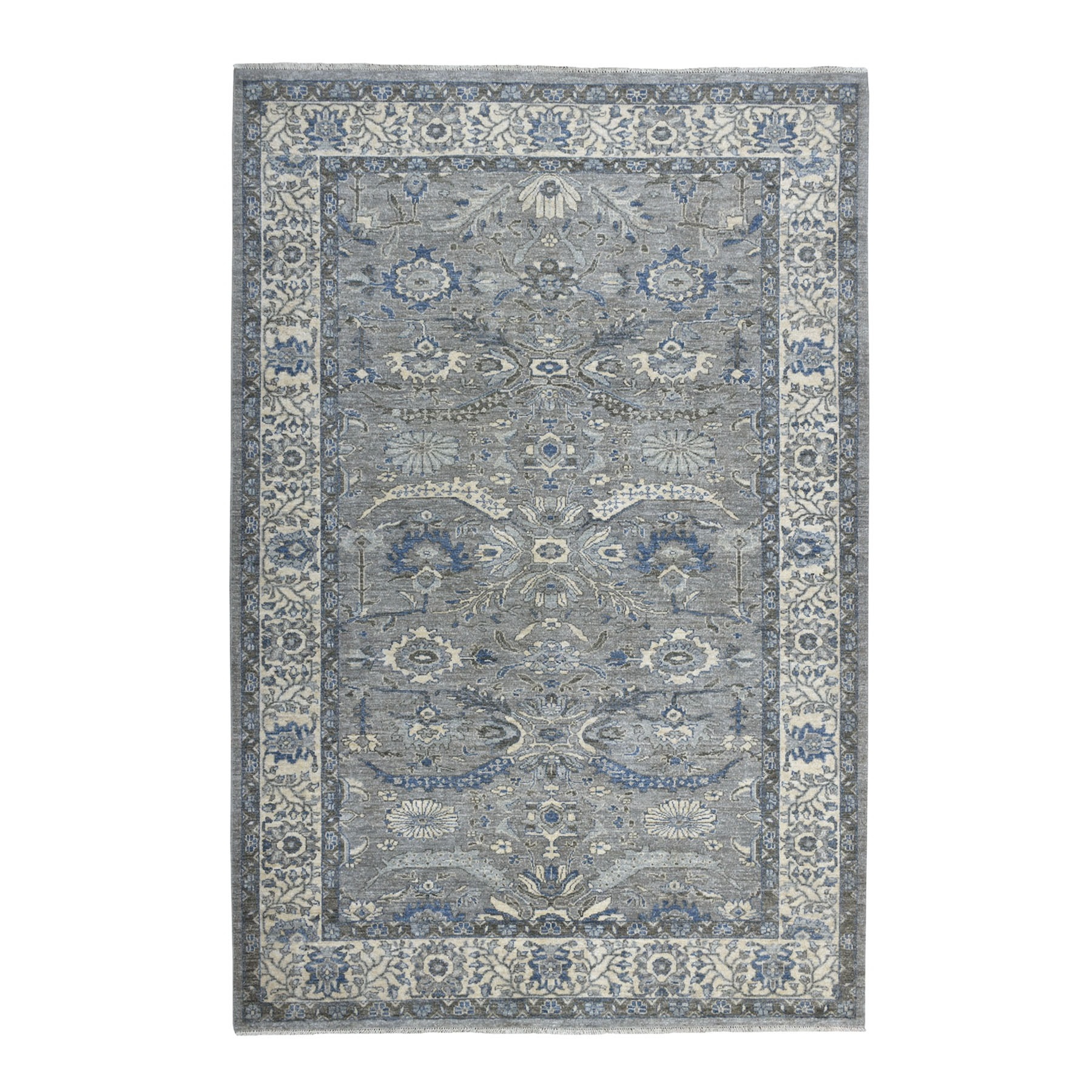 "6'2""X8'9"" Gray Peshawar With Ziegler Mahal Design Silver Wash Hand Knotted Oriental Rug moaed0a0"