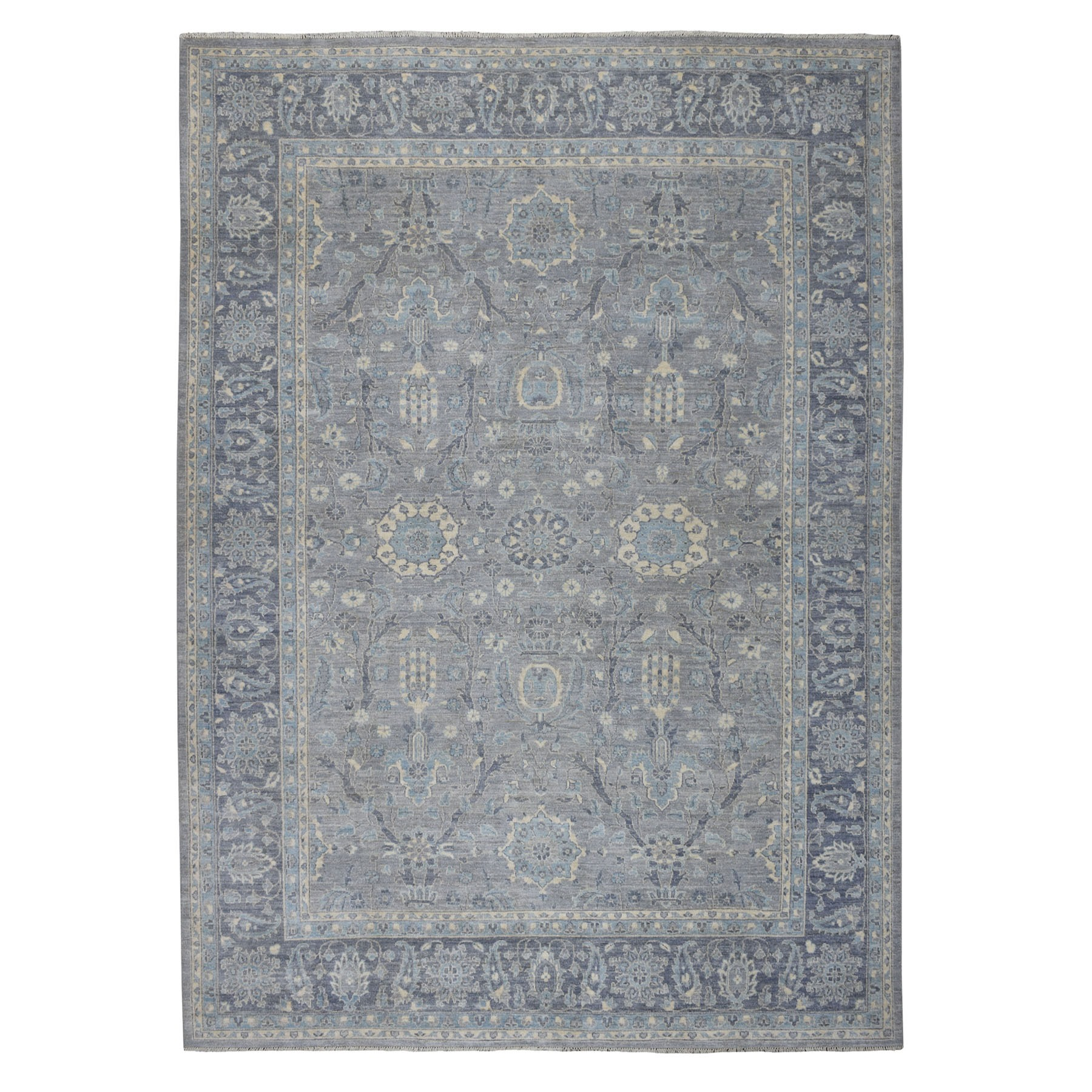 "8'10""X12' Peshawar With Silver Wash Mahal Design Hand Knotted Oriental Rug moaed0ac"