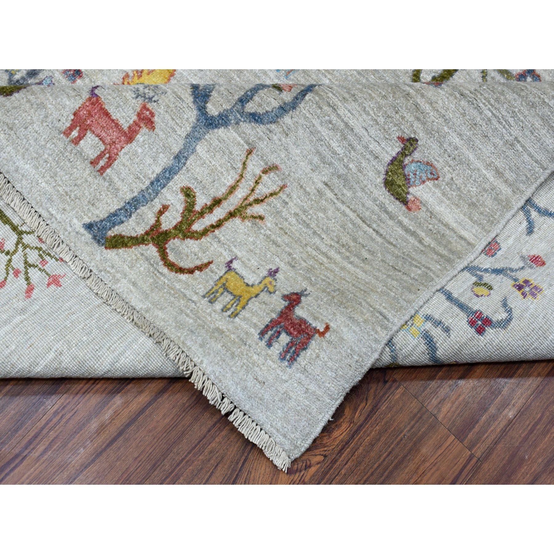 9-x11-10  Folk Art Willow And Cypress Tree Design Peshawar With Pop Of Color Hand Knotted Oriental Rug