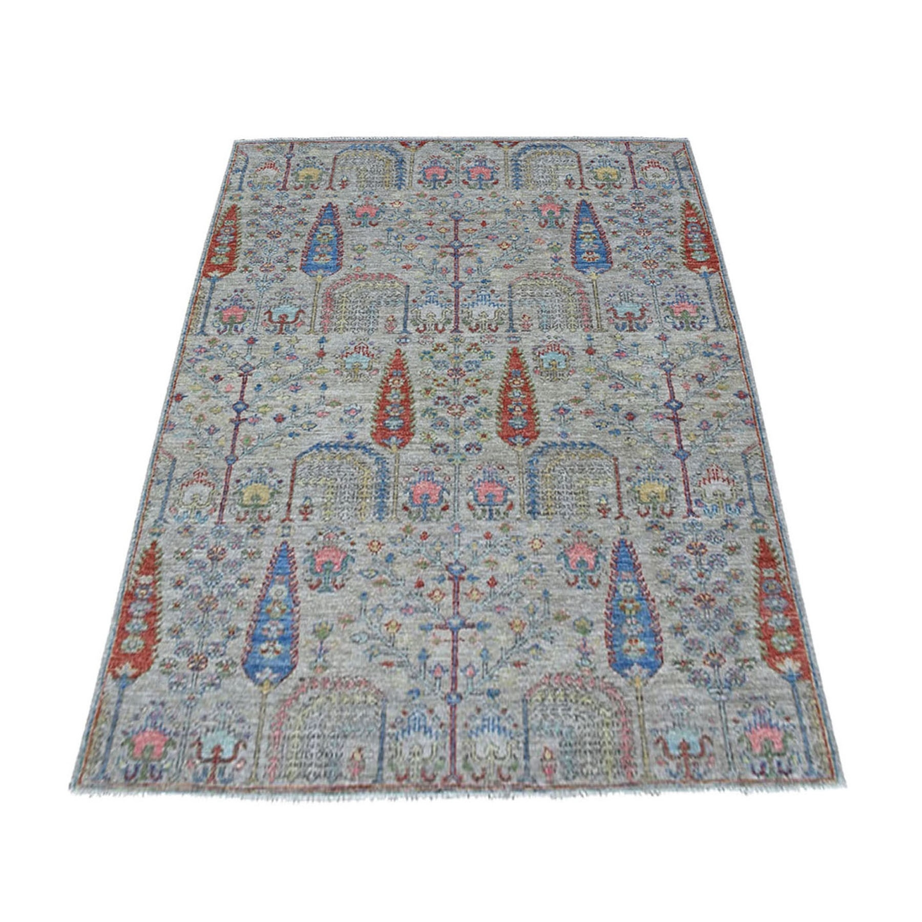 "4'X5'8"" Gray With Pop Of Color Willow And Cypress Tree Design Hand Knotted Oriental Rug moaed0a6"