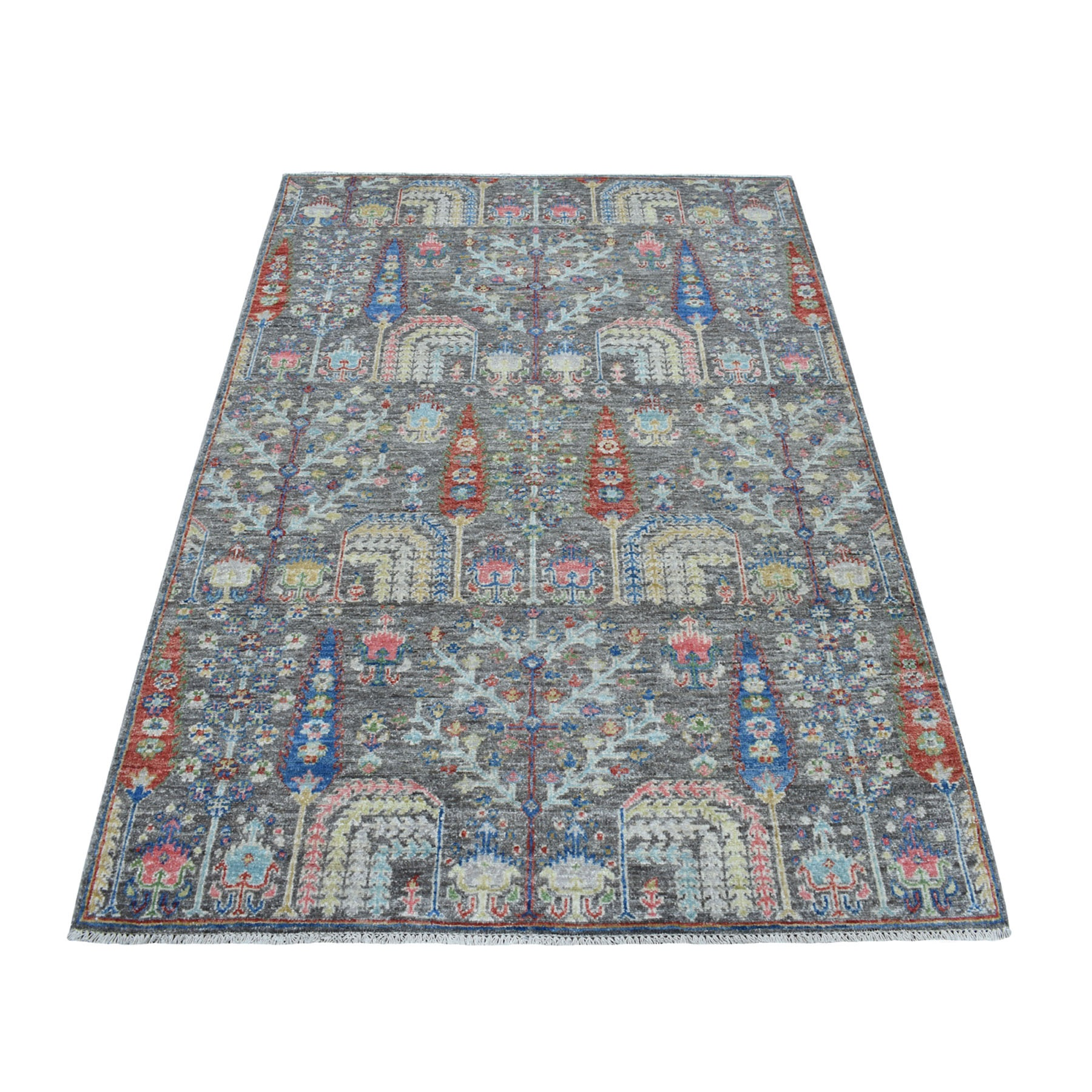"3'9""X5'8"" Gray With Pop Of Color Willow And Cypress Tree Design Hand Knotted Oriental Rug moaed0a7"