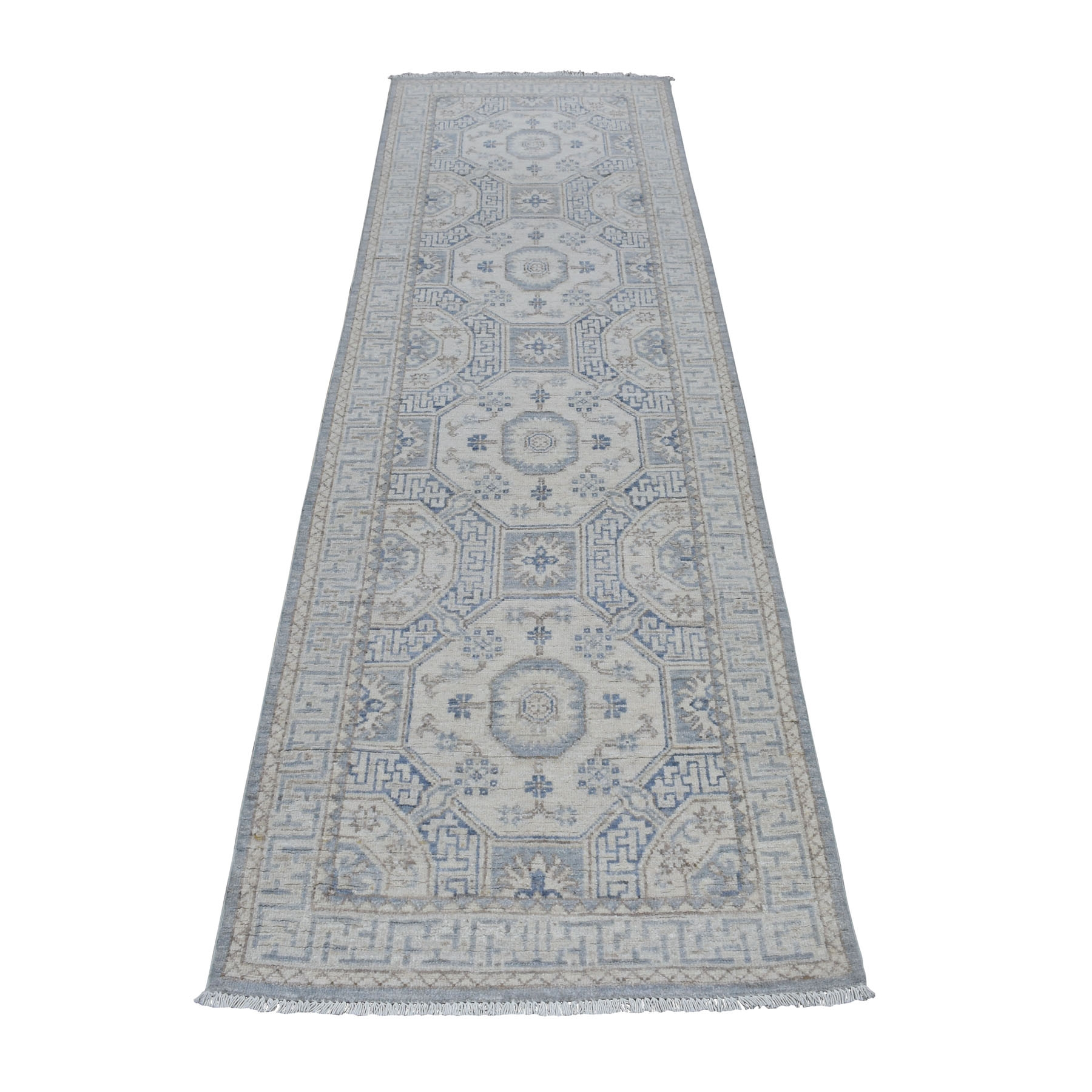 "2'8""X9' White Wash Peshawar Pure Wool Hand Knotted Runner Orientals Rug moaed0a9"