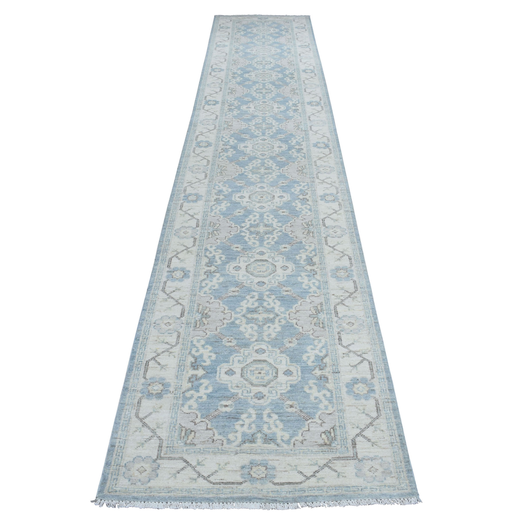 "2'8""X14'7"" White Wash Peshawar Pure Wool Khotan Design Hand Knotted Xl Runner Oriental Rug moaed0bb"