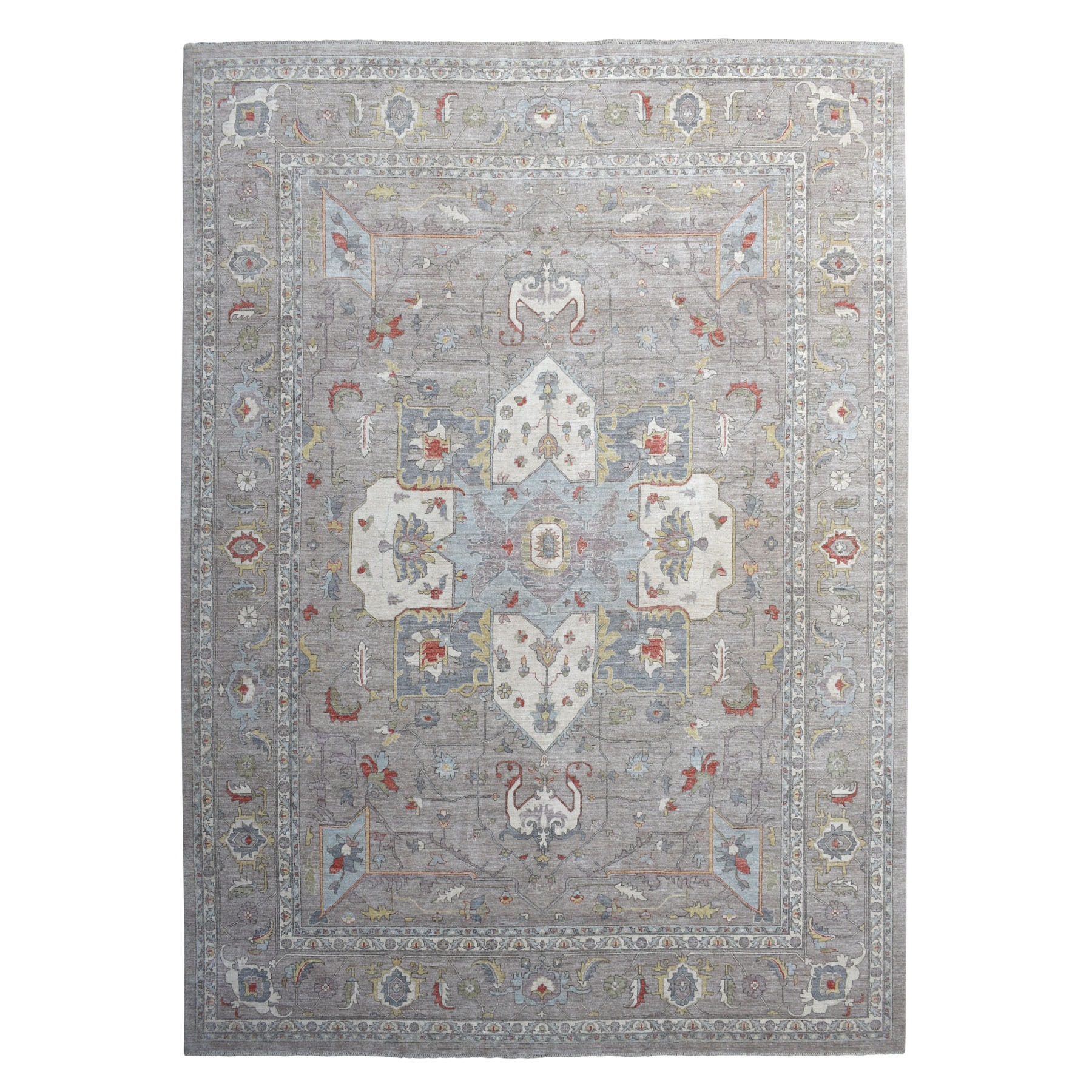 "12'x15'2"" Gray Peshawar With Heriz Design Pop OF Color Hand Knotted Oriental Rug"