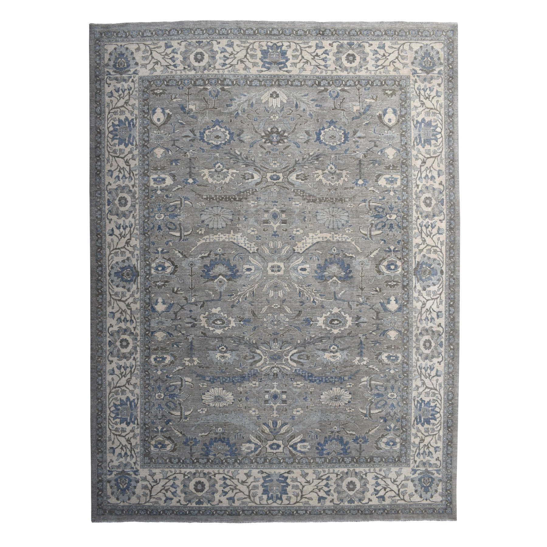 "12'x14'7"" Gray Peshawar With Ziegler Mahal Silver Wash Hand Knotted Oriental Rug"