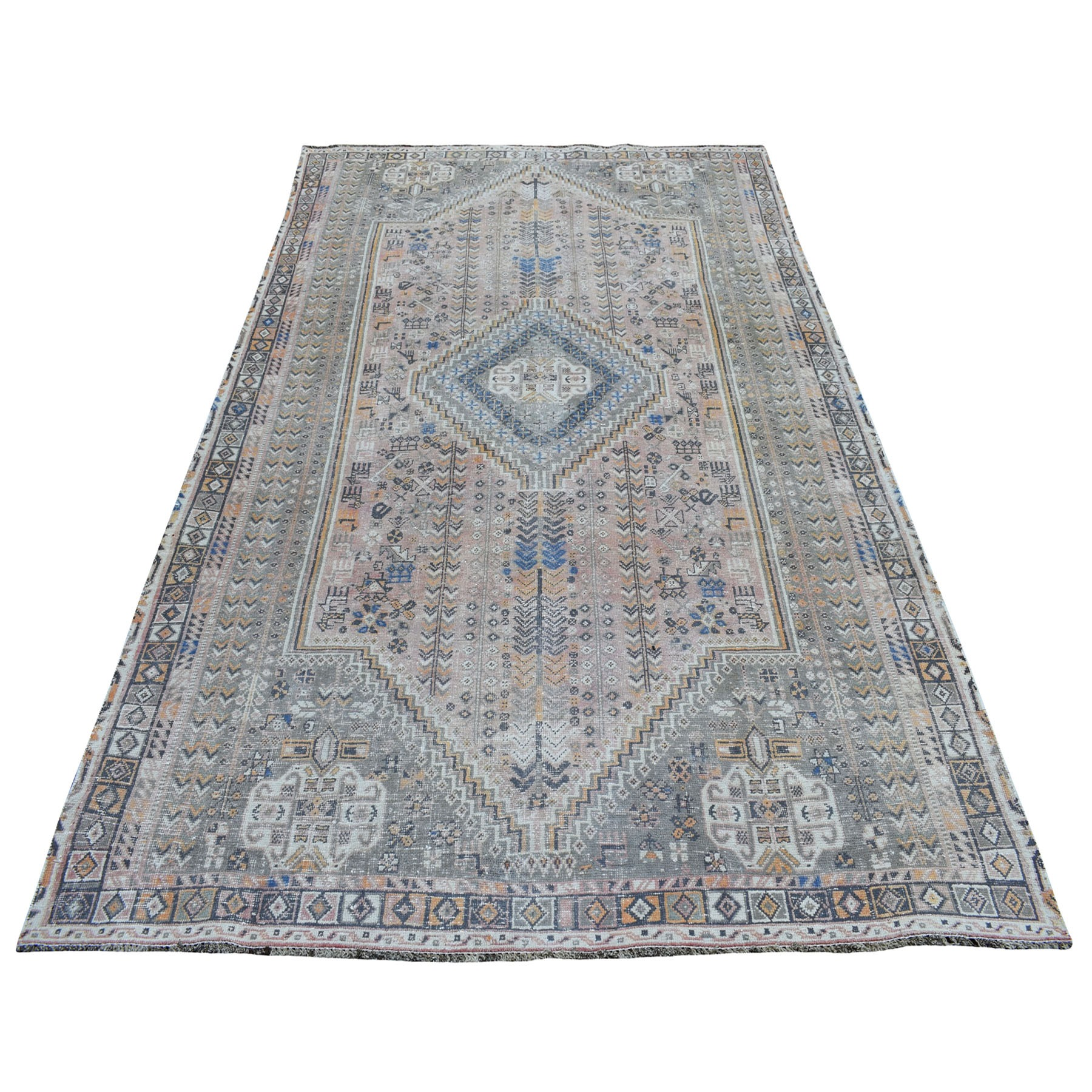 "5'2""X8'10"" Vintage And Worn Down Distressed Colors Persian Shiraz Hand Knotted Bohemian Rug moaed0b6"