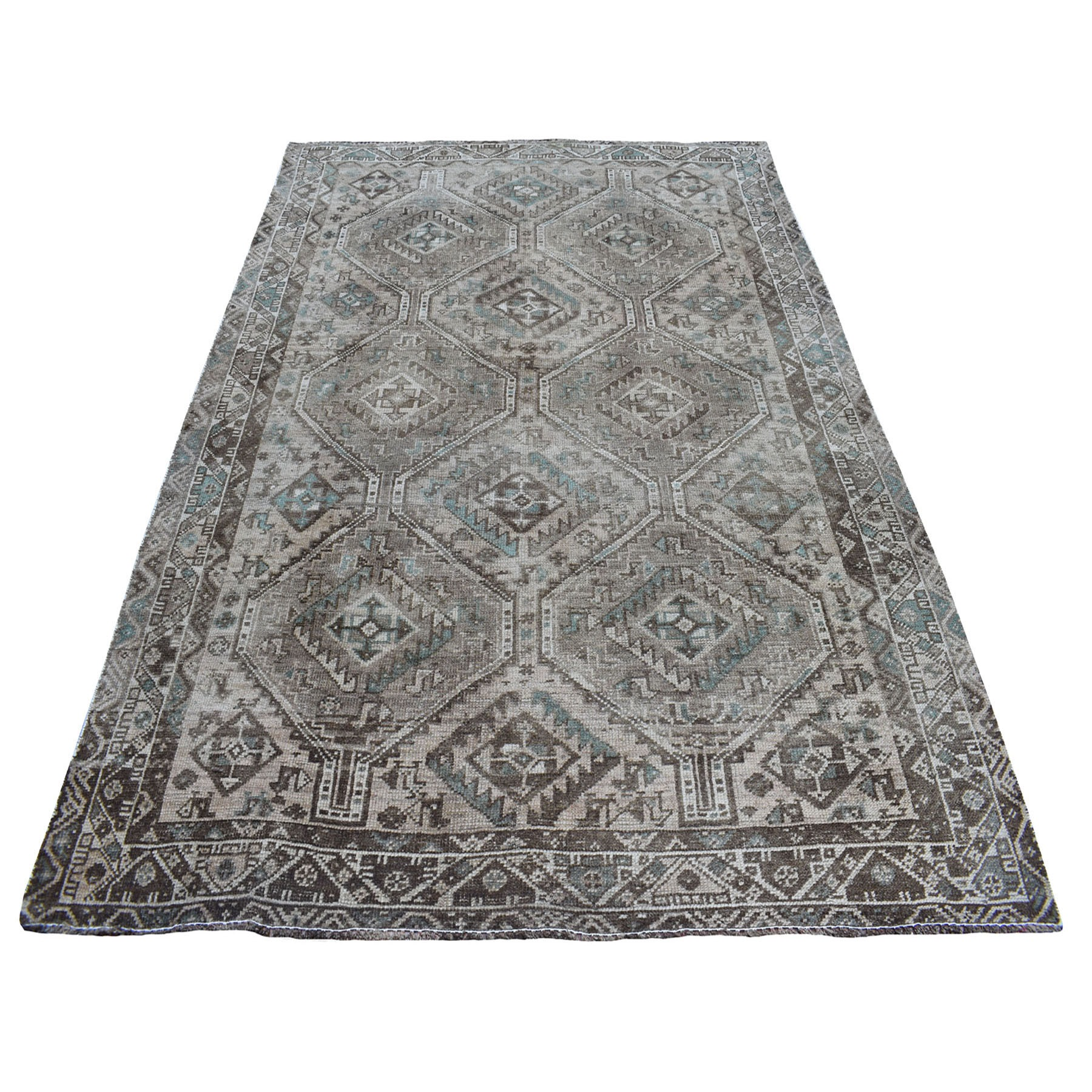 "6'2""X8'4"" Vintage And Worn Down Distressed Colors Persian Qashqai Hand Knotted Bohemian Rug moaed0ca"