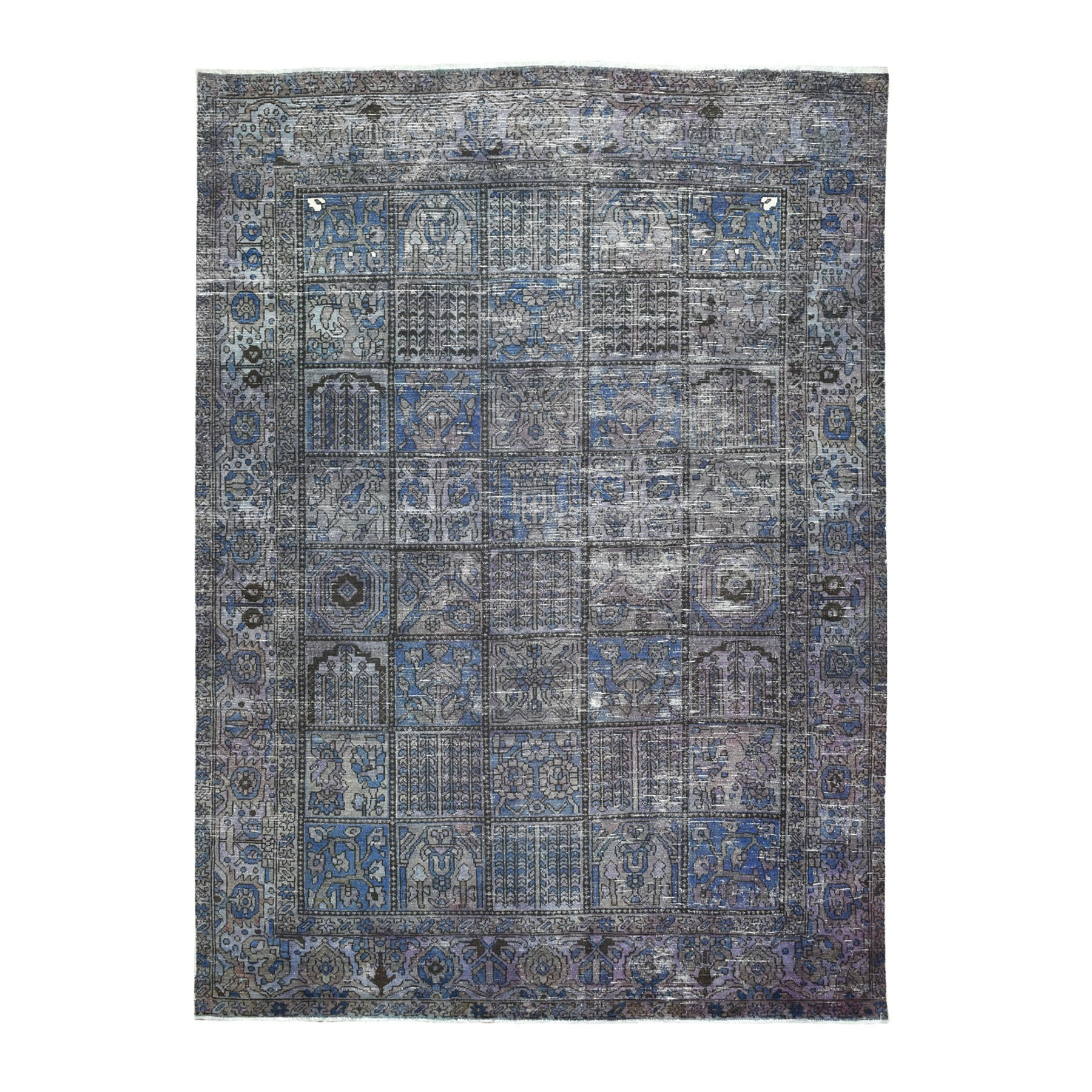 "6'9""X9'3""  Vintage And Worn Down Distressed Colors Persian Shiraz Hand Knotted Bohemian Rug moaed0cb"
