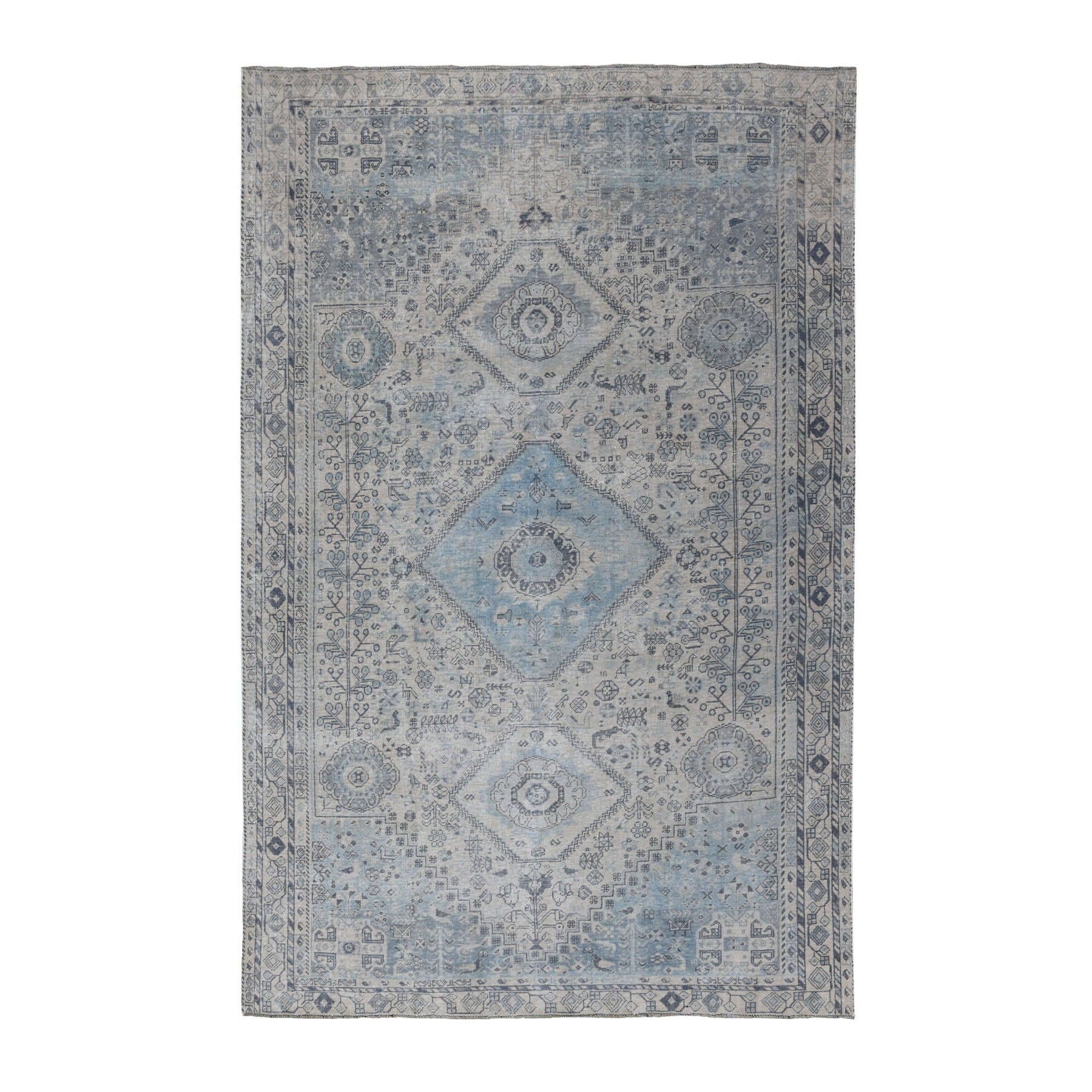 "6'3""x8'8"" Vintage And Worn Down Distressed Colors Persian Shiraz Hand Knotted Bohemian Rug"