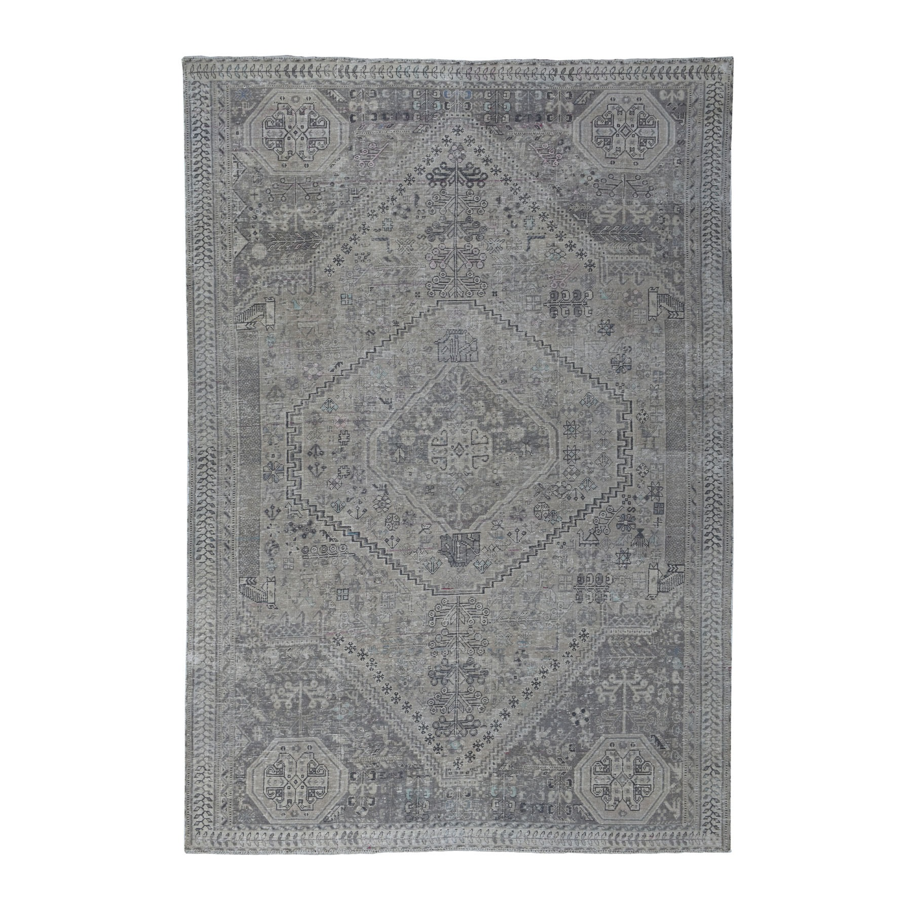 """6'6""""X9'3"""" Vintage And Worn Down Distressed Colors Persian Qashqai Hand Knotted Bohemian Rug moaed0c9"""