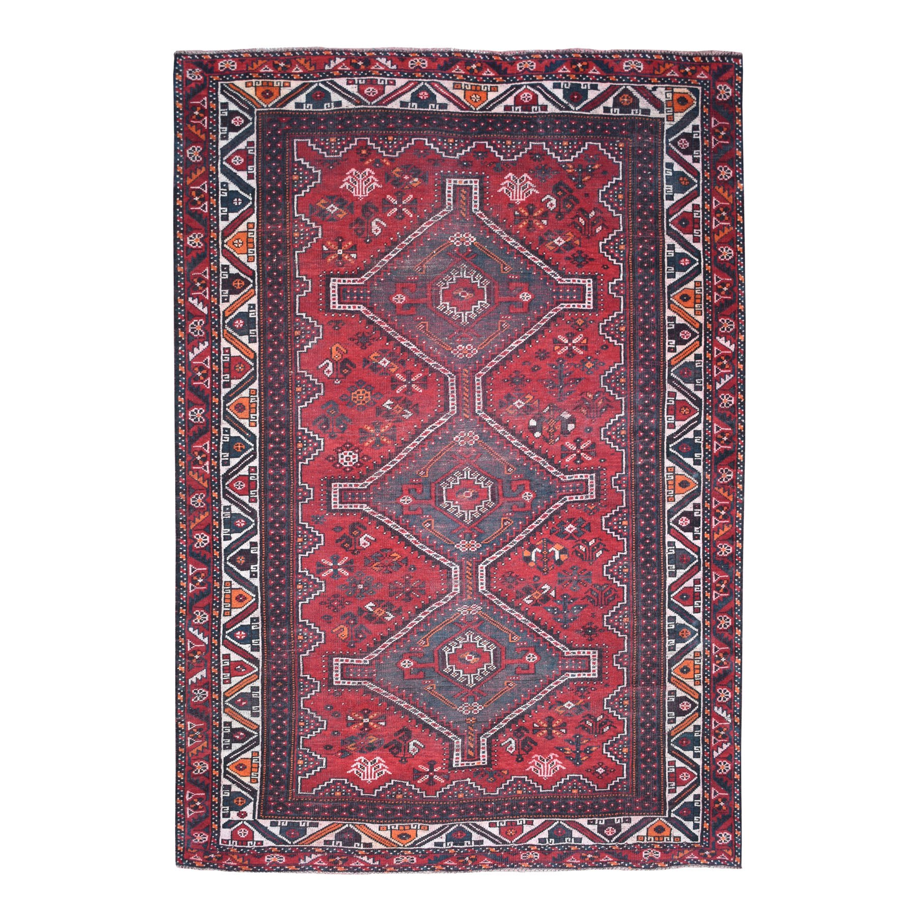 """6'9""""X9'6""""  Red Vintage And Worn Down Persian Shiraz Hand Knotted Bohemian Rug moaed0da"""