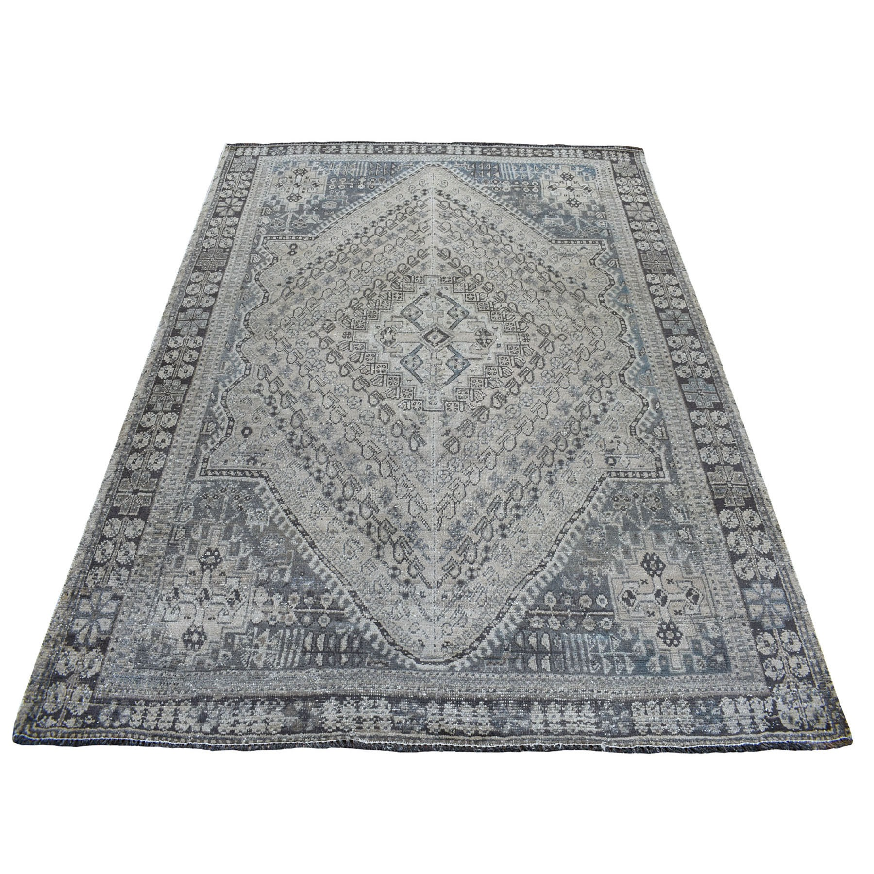 """5'9""""X7'7"""" Vintage And Worn Down Distressed Colors Persian Qashqai Hand Knotted Bohemian Rug moaed0db"""