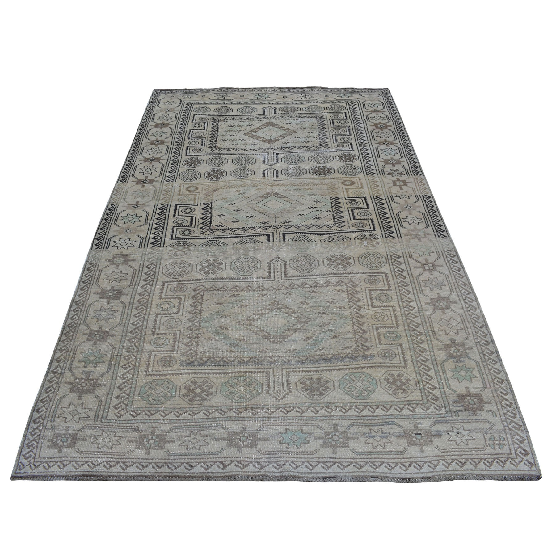 """5'2""""X9'1""""  Vintage And Worn Down Distressed Colors Persian Qashqai Hand Knotted Bohemian Rug moaed0d6"""