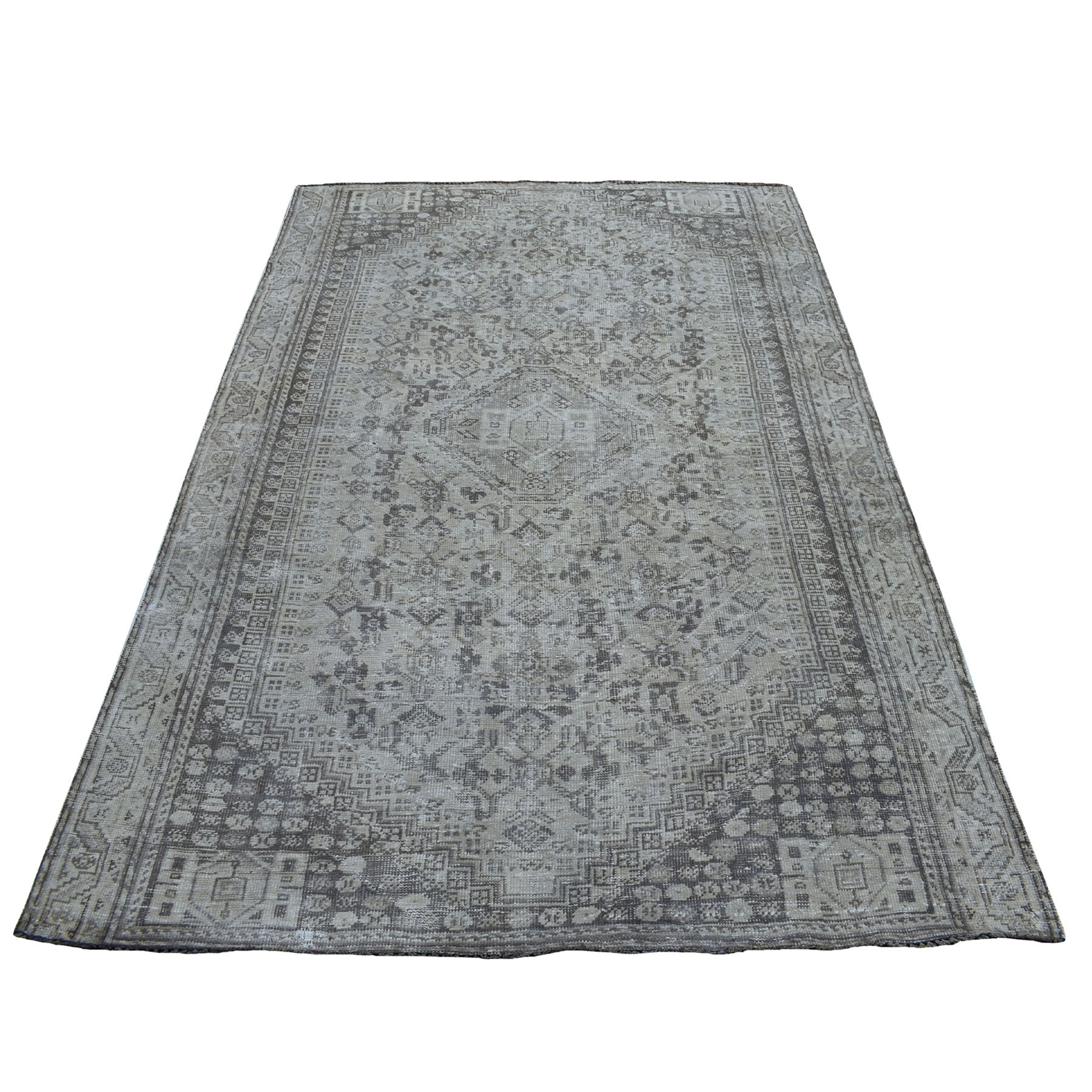 """5'1""""X7'6"""" Vintage And Worn Down Distressed Colors Persian Shiraz Hand Knotted Bohemian Rug moaed0d7"""